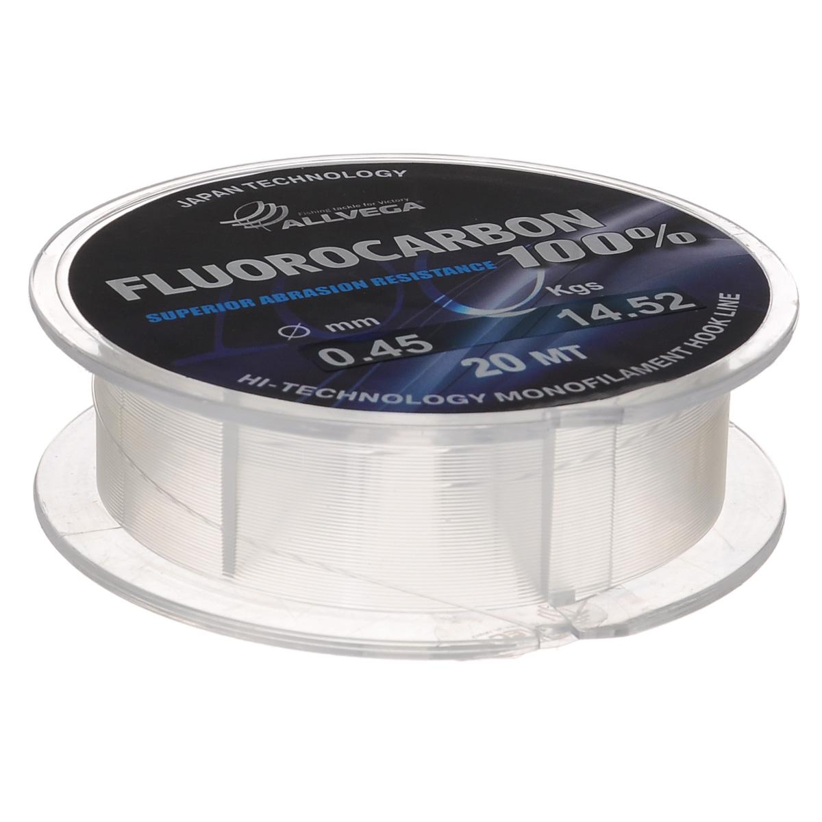 Леска Allvega FX Fluorocarbon 100%, цвет: прозрачный, 20 м, 0,45 мм, 14,52 кг010-01199-23Allvega FX Fluorocarbon 100% имеет коэффициент преломления света, близкий к коэффициенту преломления света воды, поэтому эта леска незаметна в воде и незаменима во многих случаях. Широко используется в качестве поводковой лески, как для мирных рыб, так и для хищников. Кроме прозрачности, так же обладает высокой устойчивостью к внешним механическим воздействиям, таким как камни, песок, ракушечник, зубы хищников. Обладает малой растяжимостью, что позволяет более четко определять поклевку и просекать рыбу.