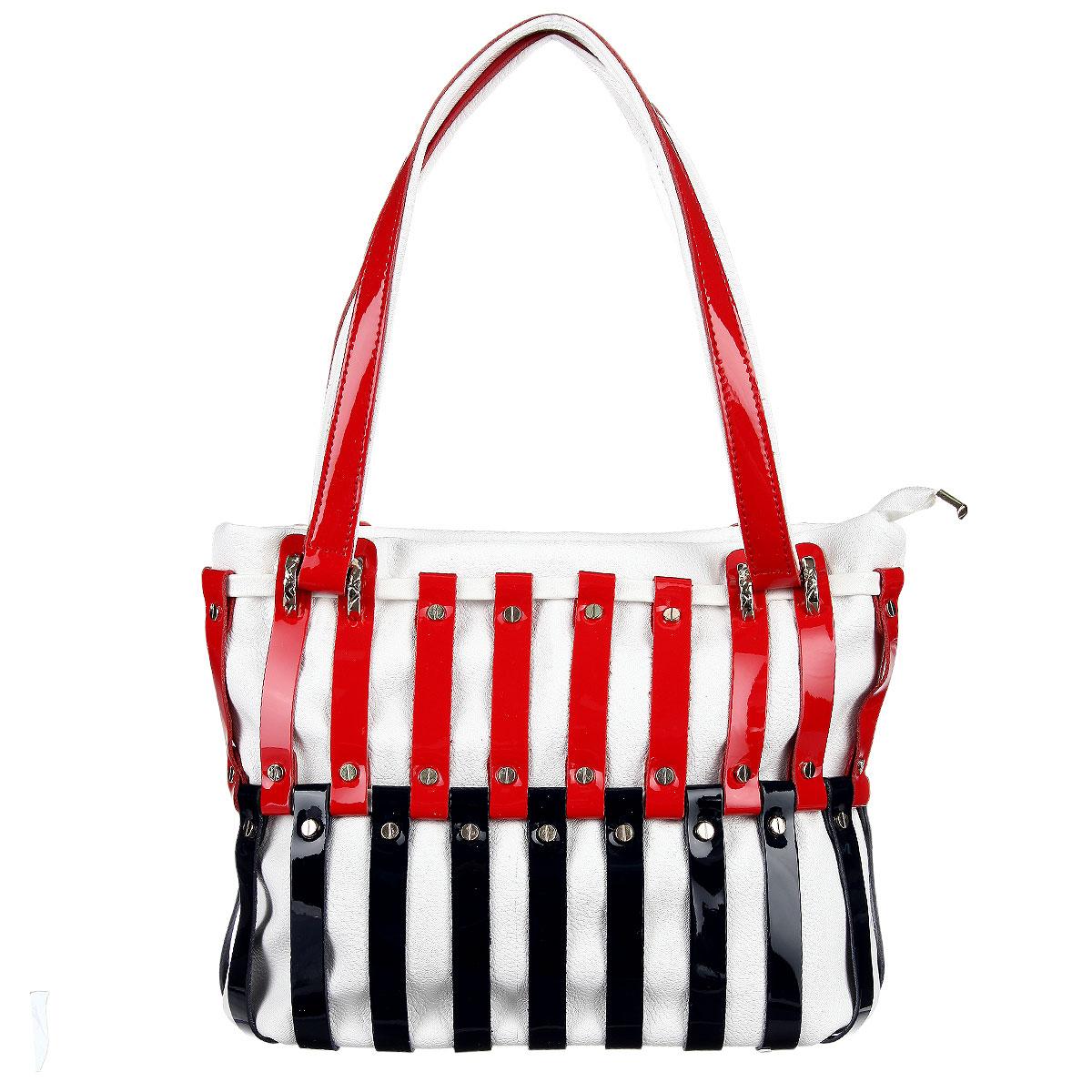 Сумка женская Vitacci, цвет: белый, красный, синий. VE070010963-10Изысканная женская сумка Vitacci выполнена из высококачественной экокожи в сочетании с натуральной кожей. Сумка закрывается на пластиковую застежку-молнию. Внутри - большое отделение с двумя карманами на застежке-молнии и два накладных кармашка для телефона, мелочей. Роскошная сумка внесет элегантные нотки в ваш образ и подчеркнет ваше отменное чувство стиля.