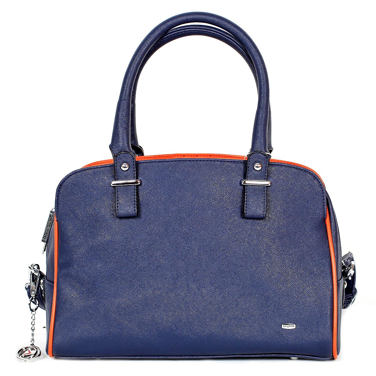 Сумка женская Leighton, цвет: синий, оранжевый. 590114-3769101225Изысканная и стильная сумка Leighton выполнена из высококачественной искусственной кожи. Сумка состоит из трех отделений, среднее закрывается на застежку-молнию, а боковые на магнитные кнопки. Внутри среднего отделения - два накладных кармашка и один втачной на застежке-молнии. Задняя сторона дополнена плоским врезным карманом на застежке-молнии. Сумка оснащена двумя удобными ручками и регулируемым плечевым ремнем. Дно дополнено металлическими ножками, защищающими изделие от повреждений.Классическое цветовое сочетание, стильный декор, модный дизайн - прекрасное дополнение к гардеробу модницы.