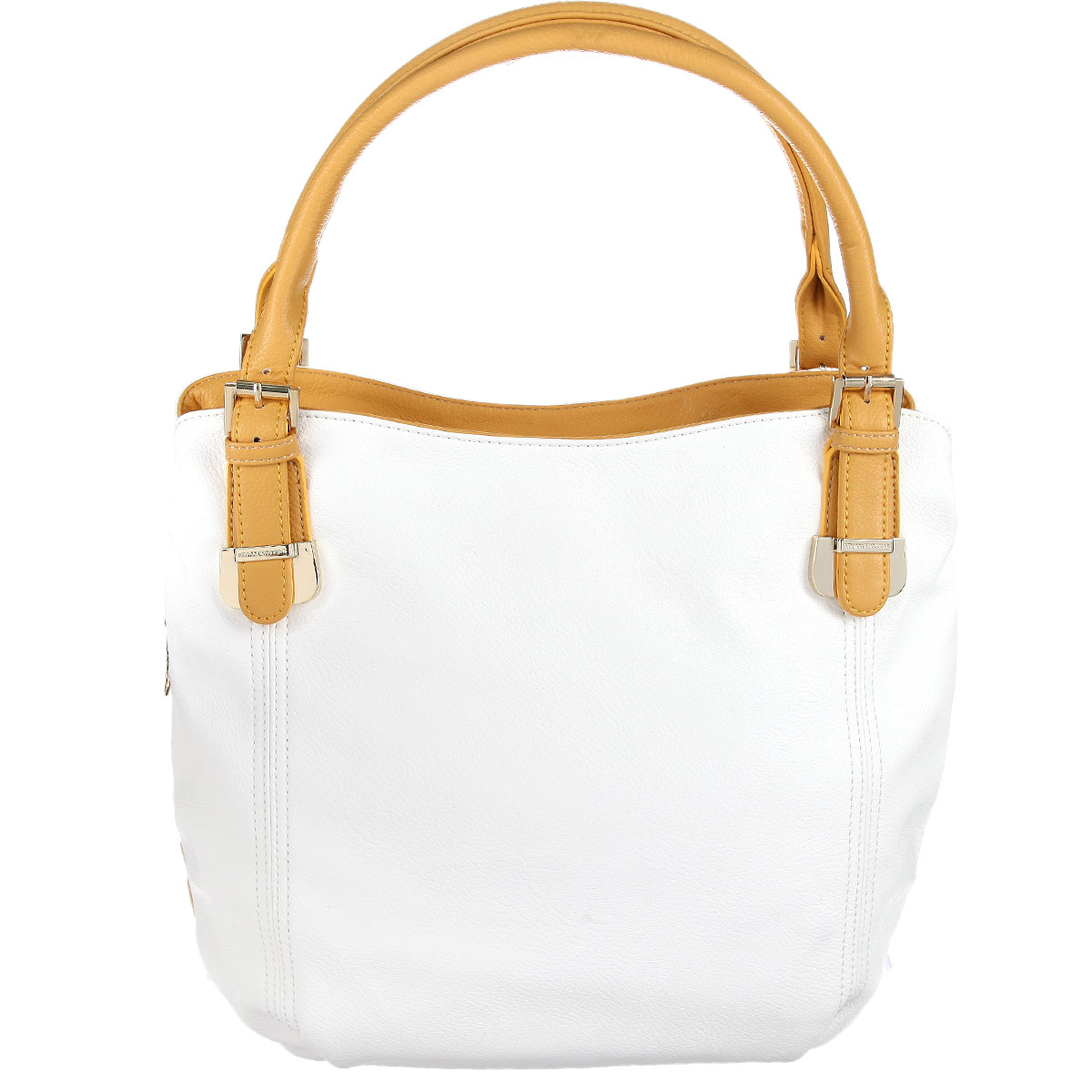 Сумка женская Vitacci, цвет: белый, желтый. VE037410963-10Изысканная женская сумка Vitacci выполнена из высококачественной экокожи. Сумка закрывается на пластиковую застежку-молнию. Внутри - большое отделение с большим карманом на застежке-молнии, небольшой втачной кармашек на застежке-молнии и два накладных кармашка для телефона, мелочей. На задней стенке - втачной карман на застежке-молнии. Роскошная сумка внесет элегантные нотки в ваш образ и подчеркнет ваше отменное чувство стиля.