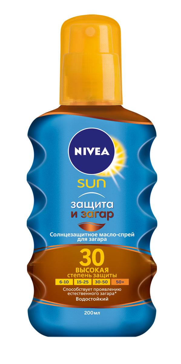 NIVEA Солнцезащитное масло-спрей для загара Защита и загар SPF 30 200 мл100715763Солнцезащитное масло-спрей для загара одновременно стимулирует проявление естественного загара и надежно защищает кожу от солнечных ожогов.Увлажняющая формула масла делает кожу гладкой, как шелк. Без липкого эффекта. Не содержит красящих веществ. 100% натуральный загар и 0% автозагара.