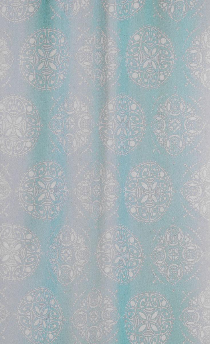 Штора для ванной комнаты White Fox Восток, цвет: бирюзовый, белый, 180 х 200 см531-105Штора для ванной комнаты White Fox Восток выполнена из полиэстера с водоотталкивающей и антибактериальной пропиткой. В нижний край вшит утяжелитель змейка, который обладает большой гибкостью и не теряет своих свойств после стирки. Рисунок нанесен по специальной водозащитной технологии, позволяющей максимально долго сохранять первичные цвета. Штора украшена оригинальным узором. В комплекте прилагаются 12 фигурных пластиковых колец в форме С.Штора для ванной комнаты White Fox Восток удобна и проста в уходе. Можно стирать при температуре не выше +30°C и гладить при температуре до +110°C.Штора для ванной комнаты является прекрасным украшением для ванной комнаты и надежной защитой от разбрызгивания воды.