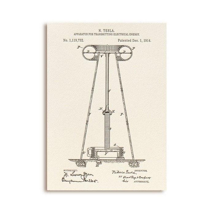 Открытка Патенты Николы Теслы. Apparatus for Transmitting Electrical EnergyGC001.2