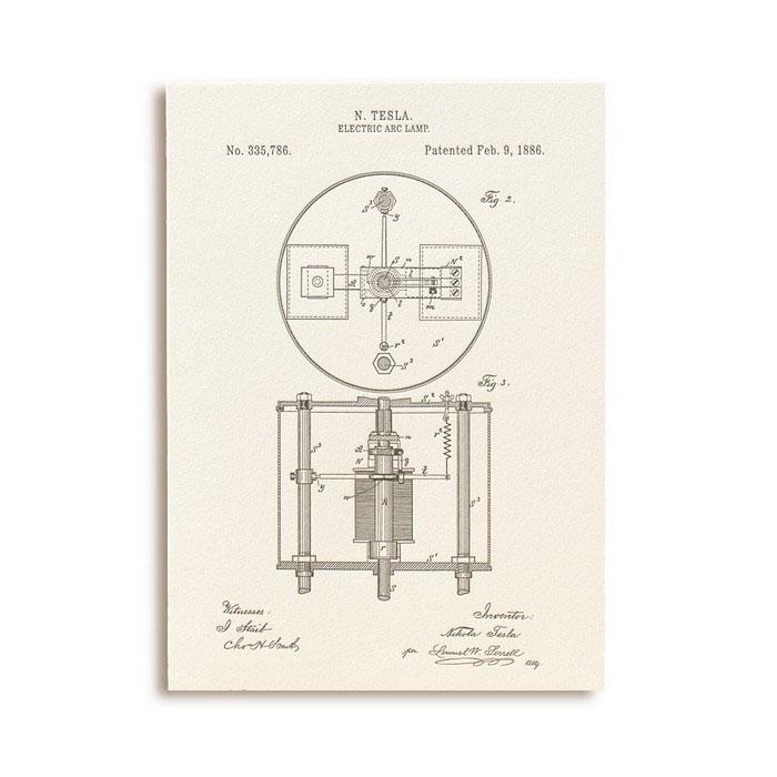 Открытка Патенты Николы Теслы. Electric Arc Lamp, fig. 2GC001.3
