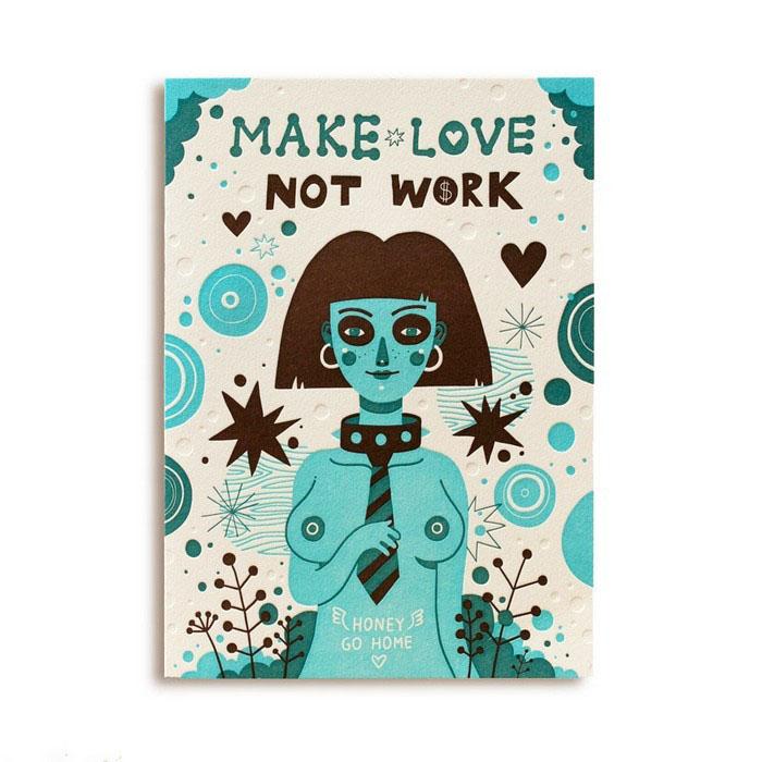 Открытка Make Love not Work. Автор Леонид ЗарубинGC008.1