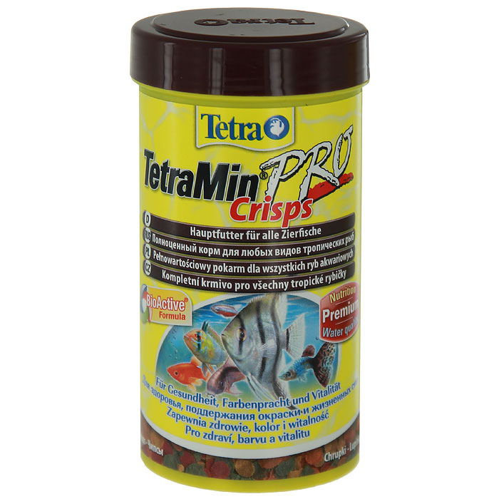 Корм сухой TetraMin Pro Crisps для всех видов тропических рыб, в виде чипсов, 250 мл139657Корм TetraMin Pro Crisps - это биологически сбалансированный корм для здоровой рыбы и чистой воды. Корм в виде чипсов представляет собой идеальную смесь высокопитательных ингредиентов с витаминами, минералами и микроэлементами для ежедневного полноценного питания.Особенности TetraMin Pro Crisps: изготовлено с использованием уникальной низкотемпературной технологии производства для более высокой питательной ценности,запатентованная BioActive формула поддерживает работоспособность иммунной системы, обеспечивая высокую продолжительность жизни,оптимизированное соотношение протеинов и жиров для улучшенного усвоения корма и меньшего загрязнения воды.Рекомендации по кормлению: кормить несколько раз в день маленькими порциями.Характеристики:Состав: рыба и побочные рыбные продукты, зерновые культуры, экстракты растительного белка, дрожжи, моллюски и раки, масла и жиры, водоросли, сахар.Пищевая ценность: сырой белок - 46%, сырые масла и жиры - 12%, сырая клетчатка - 3%, влага - 8%.Добавки: витамины, провитамины и химические вещества с аналогичным воздействием, витамин А 30650 МЕ/кг, витамин Д3 1915 МЕ/кг, Л-карнитин 125 мг/кг. Комбинации элементов: Е5 Марганец 69 мг/кг, Е6 Цинк 41 мг/кг, Е1 Железо 27 мг/кг,Е3 Кобальт 0,5 мг/кг. Красители, консерванты, антиоксиданты.Вес: 250 мл (55 г).Уважаемые клиенты!Обращаем ваше внимание на возможные изменения в дизайне упаковки. Качественные характеристики товара остаются неизменными. Поставка осуществляется в зависимости от наличия на складе.
