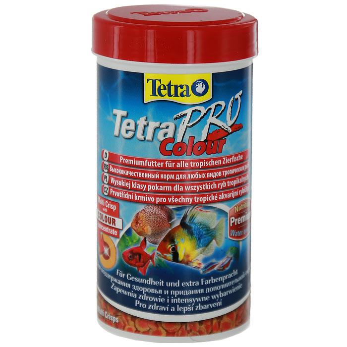 Корм сухой Tetra TetraPro. Colour для всех видов тропических рыб, чипсы, 100 мл (20 г)0120710Полноценный высококачественный корм Tetra TetraPro. Colour для всех видов тропических рыб разработан для поддержания здоровья и придания дополнительной энергии. Особенности Tetra TetraPro. Colour:- щадящая низкотемпературная технология изготовления для высокой питательной ценности и стабильности витаминов;- цветовой концентрат для превосходной природной окраски;- инновационная форма чипсов для минимального загрязнения воды отходами;- идеально подходит для любых видов разноцветных рыб;- легкое кормление. Рекомендации по кормлению: кормить несколько раз в день маленькими порциями.Состав: рыба и побочные рыбные продукты, зерновые культуры, экстракты растительного белка, дрожжи, моллюски и раки, масла и жиры, водоросли.Аналитические компоненты: сырой белок - 46%, сырые масла и жиры - 12%, сырая клетчатка - 3%, влага - 9%.Добавки: витамины, провитамины и химические вещества с аналогичным воздействием, витамин А 29810 МЕ/кг, витамин Д3 1860 МЕ/кг, Л-карнитин 123 мг/кг. Комбинации элементов: Е5 Марганец 67 мг/кг, Е6 Цинк 40 мг/кг, Е1 Железо 26 мг/кг. Красители, консерванты, антиоксиданты.Товар сертифицирован.