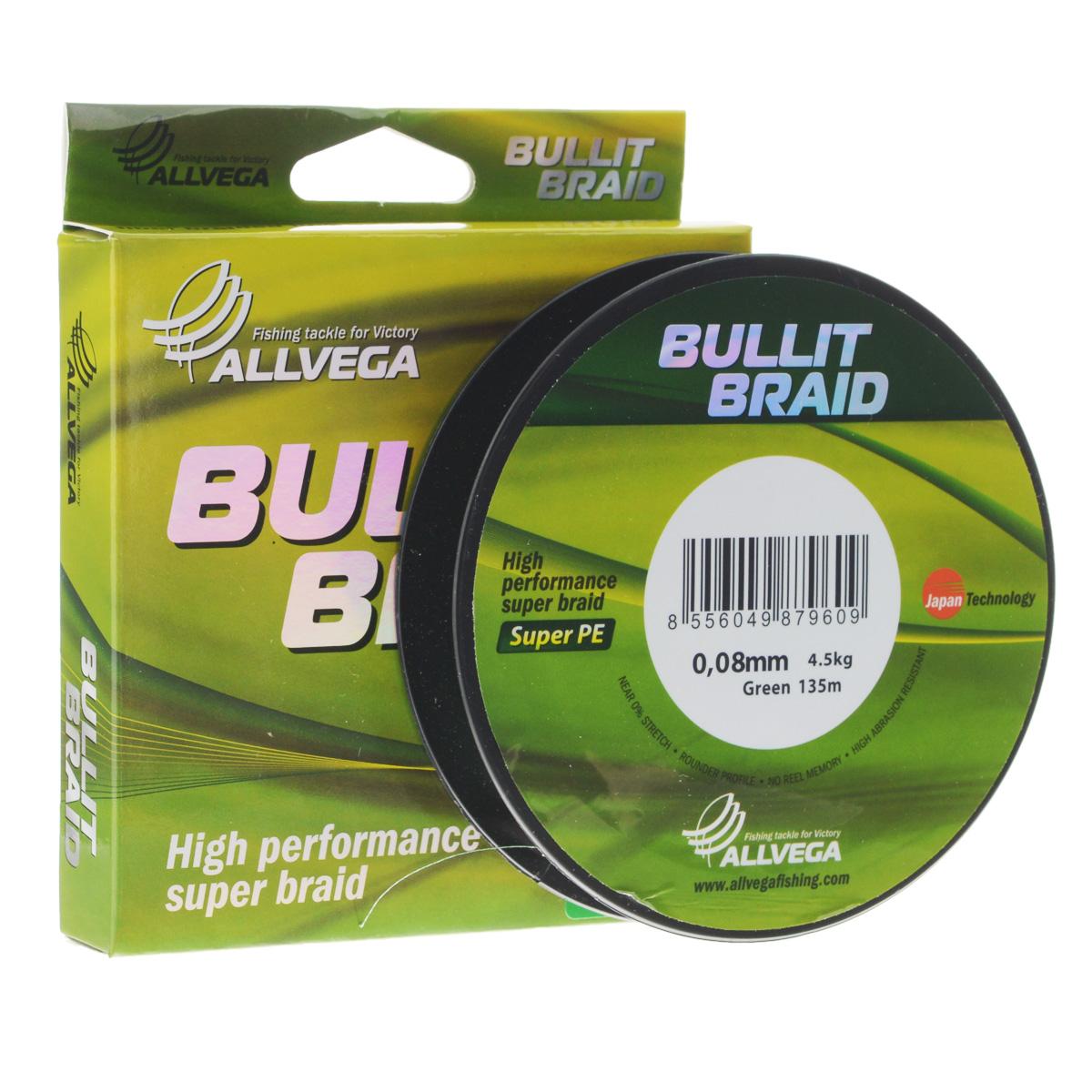 Леска плетеная Allvega Bullit Braid, цвет: темно-зеленый, 135 м, 0,08 мм, 4,5 кг31758Леска Allvega Bullit Braid с гладкой поверхностью и одинаковым сечением по всей длине обладает высокой износостойкостью. Благодаря микроволокнам полиэтилена (Super PE) леска имеет очень плотное плетение и не впитывает воду. Леску Allvega Bullit Braid можно применять в любых типах водоемов. Особенности:- повышенная износостойкость;- высокая чувствительность - коэффициент растяжения близок к нулю;- отсутствует память;- идеально гладкая поверхность позволяет увеличить дальность забросов;- высокая прочность шнура на узлах.