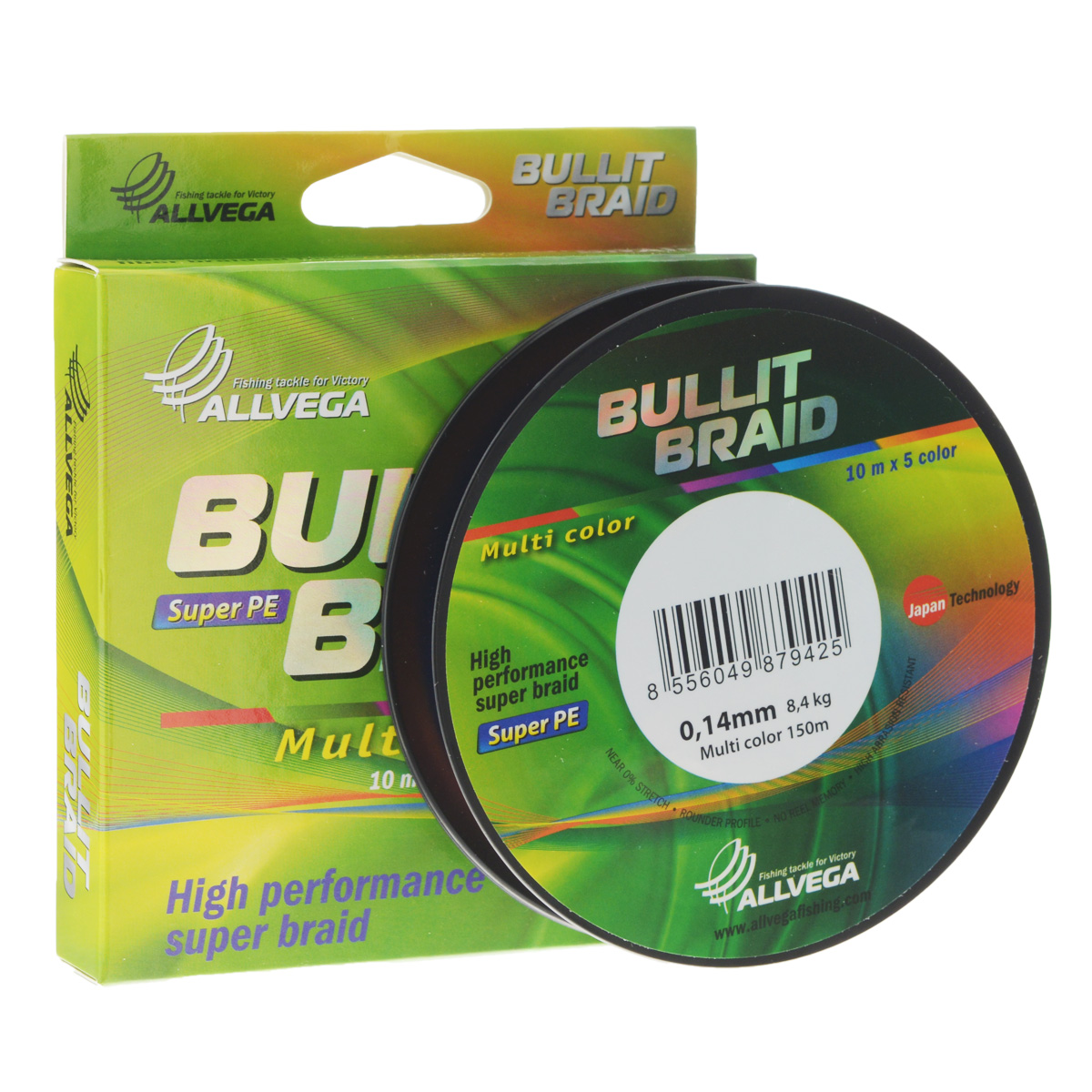 Леска плетеная Allvega Bullit Braid, цвет: мульти, 150 м, 0,14 мм, 8,4 кг39933Леска Allvega Bullit Braid с гладкой поверхностью и одинаковым сечением по всей длине обладает высокой износостойкостью. Благодаря микроволокнам полиэтилена (Super PE) леска имеет очень плотное плетение и не впитывает воду. Леску Allvega Bullit Braid можно применять в любых типах водоемов. Особенности:- повышенная износостойкость;- высокая чувствительность - коэффициент растяжения близок к нулю;- отсутствует память;- идеально гладкая поверхность позволяет увеличить дальность забросов;- высокая прочность шнура на узлах.