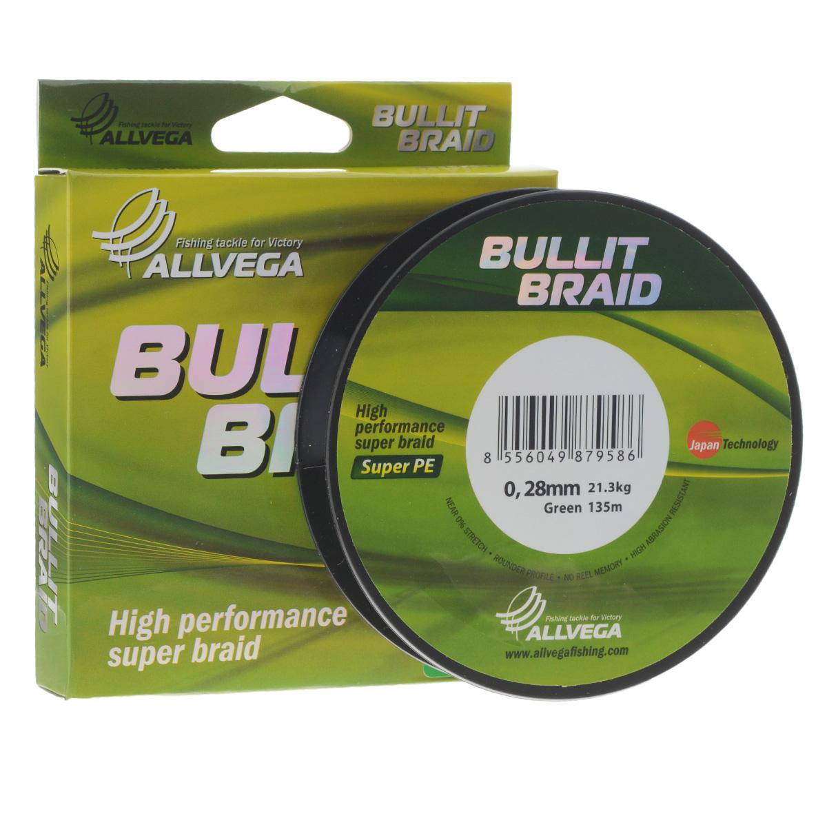 Леска плетеная Allvega Bullit Braid, цвет: темно-зеленый, 135 м, 0,28 мм, 21,3 кгPGPS7797CIS08GBNVЛеска Allvega Bullit Braid с гладкой поверхностью и одинаковым сечением по всей длине обладает высокой износостойкостью. Благодаря микроволокнам полиэтилена (Super PE) леска имеет очень плотное плетение и не впитывает воду. Леску Allvega Bullit Braid можно применять в любых типах водоемов. Особенности:- повышенная износостойкость;- высокая чувствительность - коэффициент растяжения близок к нулю;- отсутствует память;- идеально гладкая поверхность позволяет увеличить дальность забросов;- высокая прочность шнура на узлах.