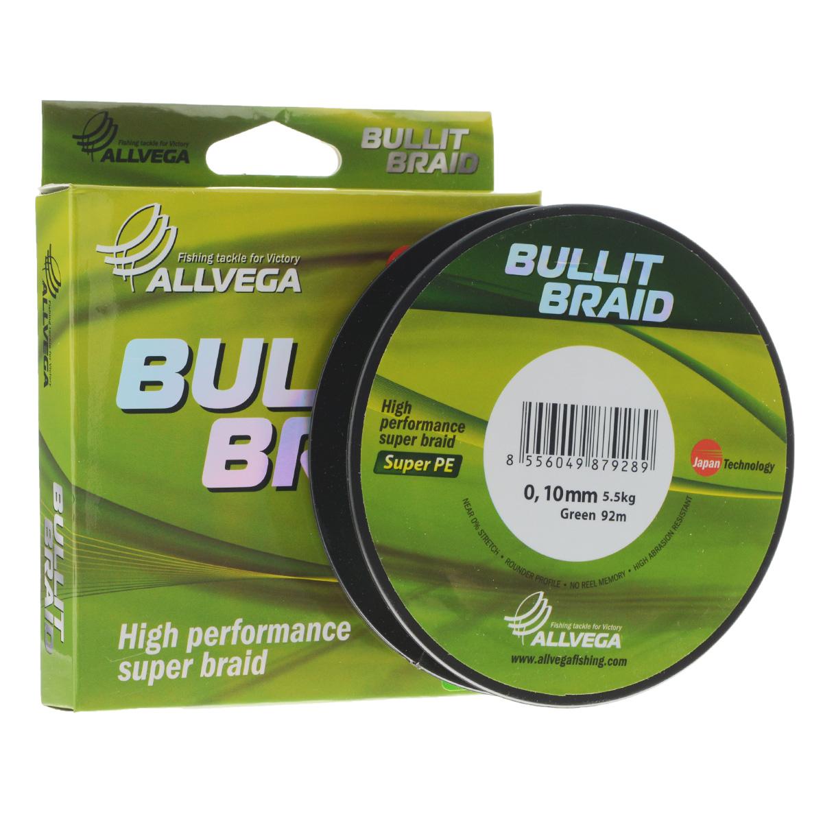 Леска плетеная Allvega Bullit Braid, цвет: темно-зеленый, 92 м, 0,10 мм, 5,5 кг010-01199-23Леска Allvega Bullit Braid с гладкой поверхностью и одинаковым сечением по всей длине обладает высокой износостойкостью. Благодаря микроволокнам полиэтилена (Super PE) леска имеет очень плотное плетение и не впитывает воду. Леску Allvega Bullit Braid можно применять в любых типах водоемов. Особенности:- повышенная износостойкость;- высокая чувствительность - коэффициент растяжения близок к нулю;- отсутствует память;- идеально гладкая поверхность позволяет увеличить дальность забросов;- высокая прочность шнура на узлах.