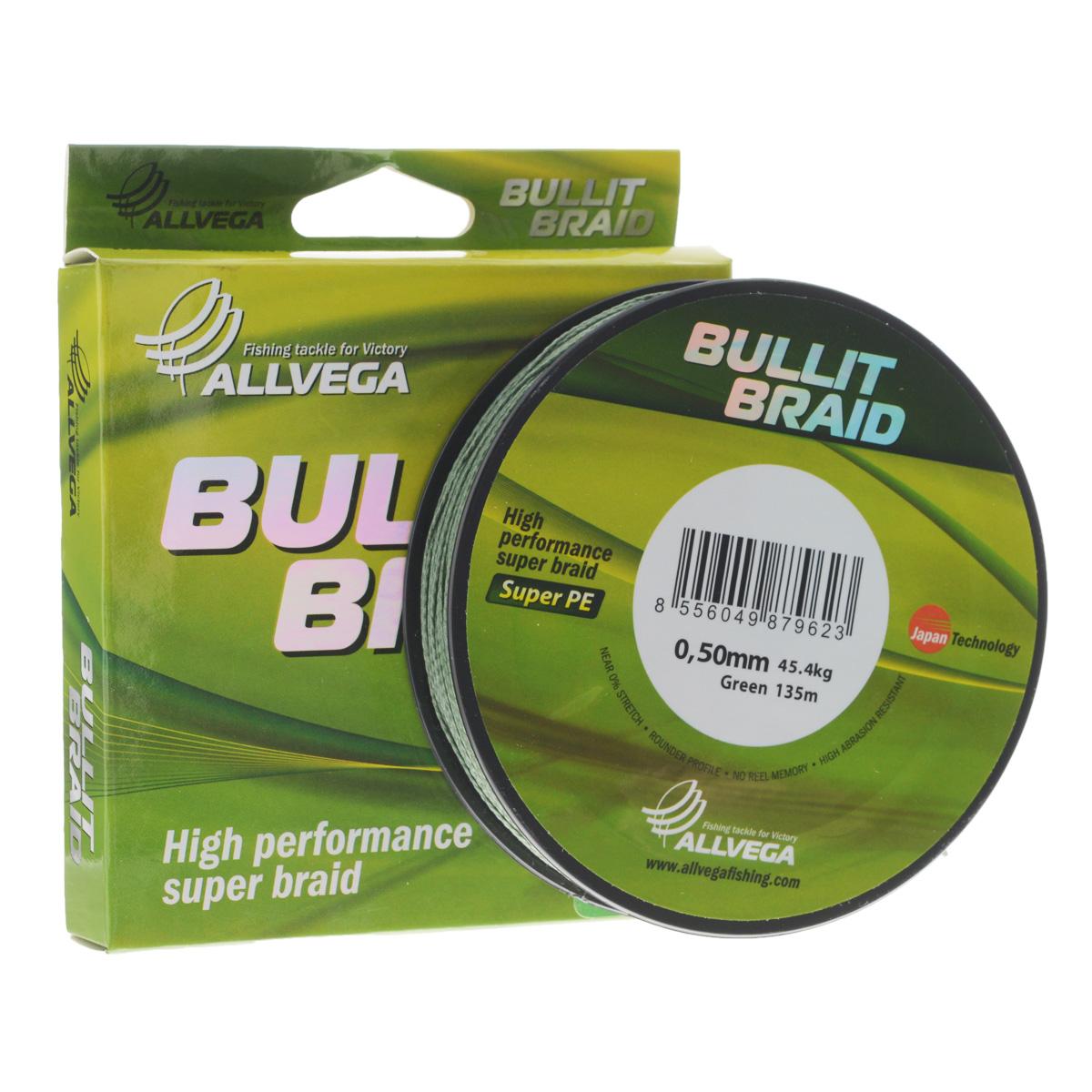 Леска плетеная Allvega Bullit Braid, цвет: темно-зеленый, 135 м, 0,50 мм, 45,4 кг36153Леска Allvega Bullit Braid с гладкой поверхностью и одинаковым сечением по всей длине обладает высокой износостойкостью. Благодаря микроволокнам полиэтилена (Super PE) леска имеет очень плотное плетение и не впитывает воду. Леску Allvega Bullit Braid можно применять в любых типах водоемов. Особенности:- повышенная износостойкость;- высокая чувствительность - коэффициент растяжения близок к нулю;- отсутствует память;- идеально гладкая поверхность позволяет увеличить дальность забросов;- высокая прочность шнура на узлах.
