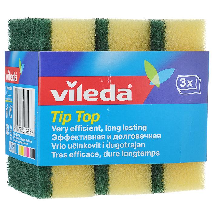 Набор губок для посуды Vileda Тип-Топ, цвет: желтый, зеленый, 3 шт1004900000360Набор Vileda Тип-Топ состоит из трех полиуретановых губок с абразивным чистящим слоем, который не крошится и не отслаивается от губки. Рифленая структура поверхности эффективно удаляет стойкие загрязнения.Комплектация: 3 шт.Размер губок: 9 см х 7 см х 3 см.Материал: полиуретан, абразив.