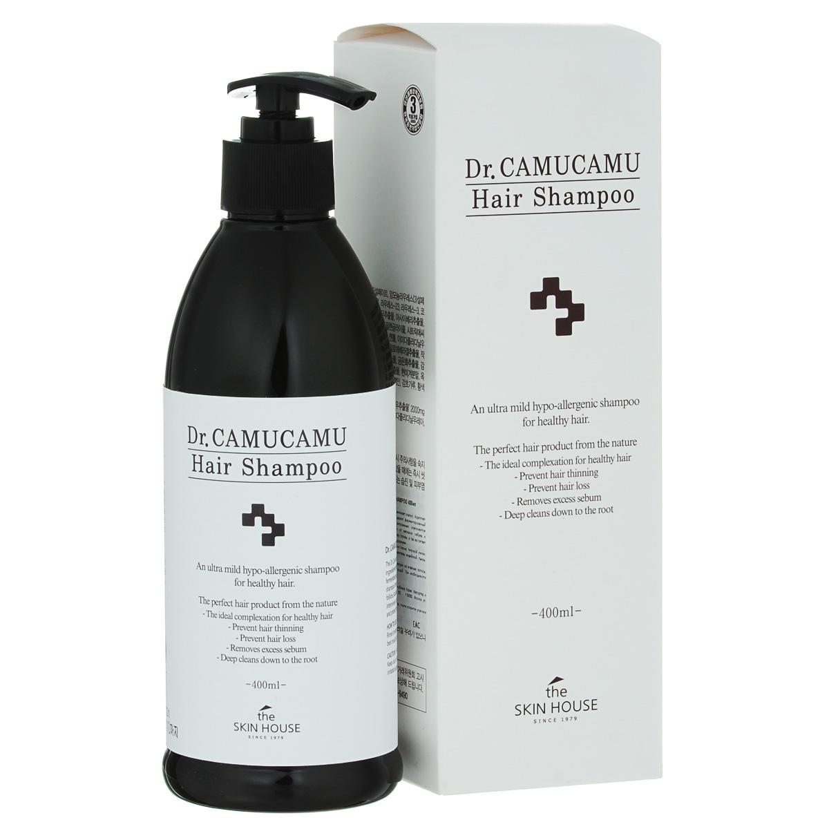 The Skin House Лечебный шампунь DR. Camucamu hair shampoo, 400 млУТ000001223Шампунь для волос эффективно борется с перхотью и оздоравливает скальп. Укрепляет и смягчает волосы, а так же успокаивает кожу головы. Содержит ферментированный экстракт рисовых отрубей, который является запатентованным компонентом TheSkinHouse. Этот экстракт увлажняет, очищает скальп от излишков себума и контролирует перхоть. Натуральный очиститель освежает кожу головы, а так же питает волосы от корней до самых кончиков, делая их красивыми и здоровыми.Содержит комплекс таких ингредиентов, как экстракты корня пиона, тигровой лилии, цветков лотоса, цветков жимолости японской, цветков хризантемы индийской, тыквы, листьев алоэ барбаденсис, ягод асаи и плодов мирциарии.