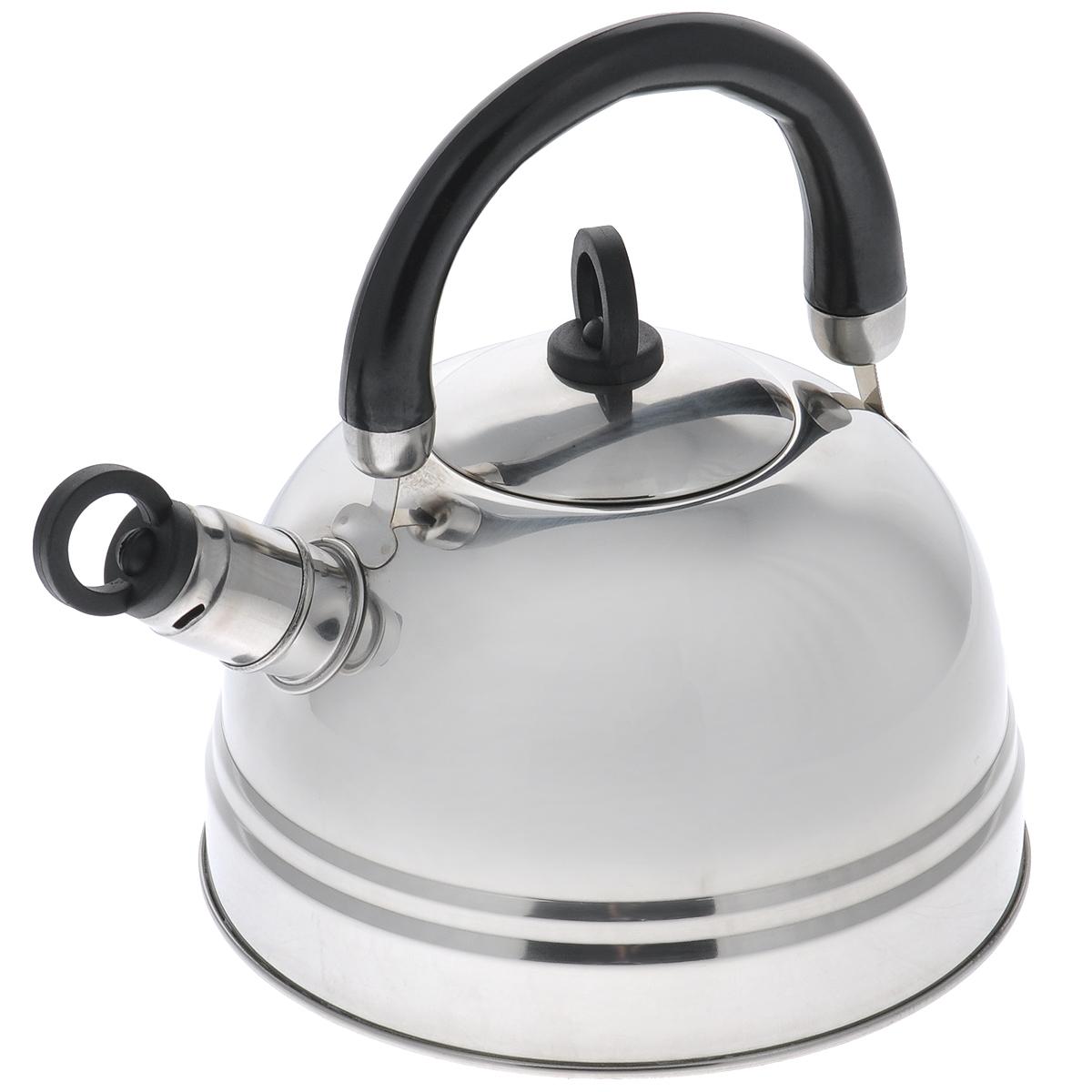 Чайник Bekker Koch, со свистком, цвет: черный, 2,5 л. BK-S367M115510Чайник Bekker Koch изготовлен из высококачественной нержавеющей стали с зеркальной полировкой. Капсулированное дно распределяет тепло по всей поверхности, что позволяет чайнику быстро закипать. Эргономичная подвижная ручка выполнена из бакелита оригинального дизайна. Носик оснащен съемным свистком, который подскажет, когда вода закипела. Можно мыть мыть в посудомоечной машине.Толщина стенок: 0,4 мм.Высота чайника (без учета ручки): 12 см. Высота чайника (с учетом ручки): 22,5 см.