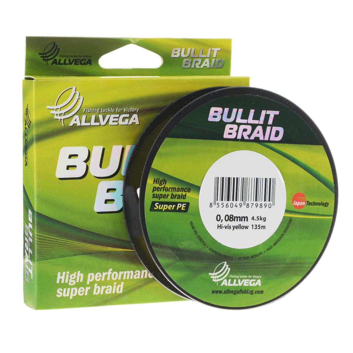 Леска плетеная Allvega Bullit Braid, цвет: ярко-желтый, 135 м, 0,08 мм, 4,5 кг010-01199-23Леска Allvega Bullit Braid с гладкой поверхностью и одинаковым сечением по всей длине обладает высокой износостойкостью. Благодаря микроволокнам полиэтилена (Super PE) леска имеет очень плотное плетение и не впитывает воду. Леску Allvega Bullit Braid можно применять в любых типах водоемов. Особенности:повышенная износостойкость;высокая чувствительность - коэффициент растяжения близок к нулю;отсутствует память; идеально гладкая поверхность позволяет увеличить дальность забросов; высокая прочность шнура на узлах.