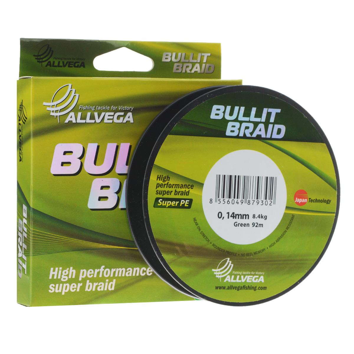 Леска плетеная Allvega Bullit Braid, цвет: темно-зеленый, 92 м, 0,14 мм, 8,4 кг39926Леска Allvega Bullit Braid с гладкой поверхностью и одинаковым сечением по всей длине обладает высокой износостойкостью. Благодаря микроволокнам полиэтилена (Super PE) леска имеет очень плотное плетение и не впитывает воду. Леску Allvega Bullit Braid можно применять в любых типах водоемов. Особенности:повышенная износостойкость;высокая чувствительность - коэффициент растяжения близок к нулю;отсутствует память; идеально гладкая поверхность позволяет увеличить дальность забросов; высокая прочность шнура на узлах.