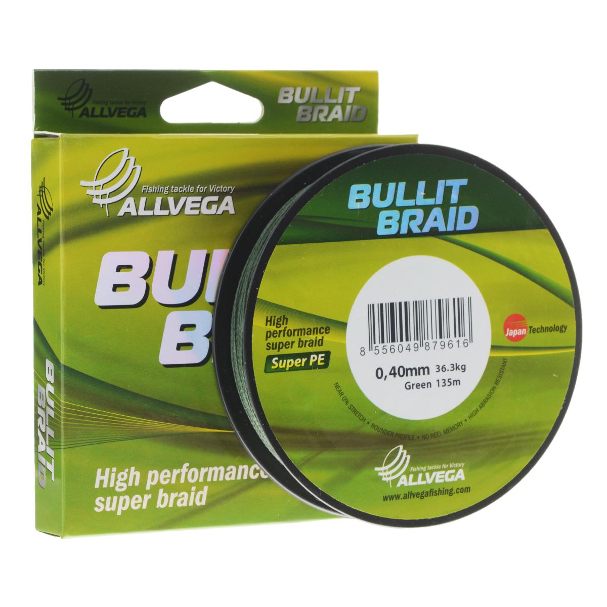 Леска плетеная Allvega Bullit Braid, цвет: темно-зеленый, 135 м, 0,40 мм, 36,3 кг36155Леска Allvega Bullit Braid с гладкой поверхностью и одинаковым сечением по всей длине обладает высокой износостойкостью. Благодаря микроволокнам полиэтилена (Super PE) леска имеет очень плотное плетение и не впитывает воду. Леску Allvega Bullit Braid можно применять в любых типах водоемов. Особенности:повышенная износостойкость;высокая чувствительность - коэффициент растяжения близок к нулю;отсутствует память; идеально гладкая поверхность позволяет увеличить дальность забросов; высокая прочность шнура на узлах.