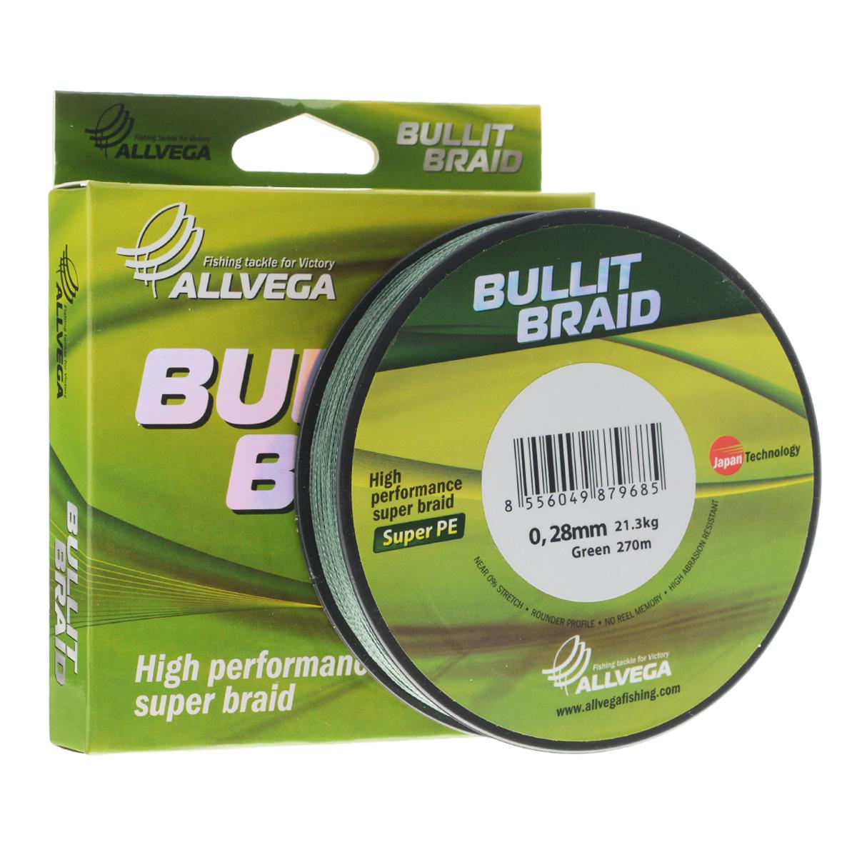 Леска плетеная Allvega Bullit Braid, цвет: темно-зеленый, 270 м, 0,28 мм, 21,3 кг51535Леска Allvega Bullit Braid с гладкой поверхностью и одинаковым сечением по всей длине обладает высокой износостойкостью. Благодаря микроволокнам полиэтилена (Super PE) леска имеет очень плотное плетение и не впитывает воду. Леску Allvega Bullit Braid можно применять в любых типах водоемов. Особенности:повышенная износостойкость;высокая чувствительность - коэффициент растяжения близок к нулю;отсутствует память; идеально гладкая поверхность позволяет увеличить дальность забросов; высокая прочность шнура на узлах.