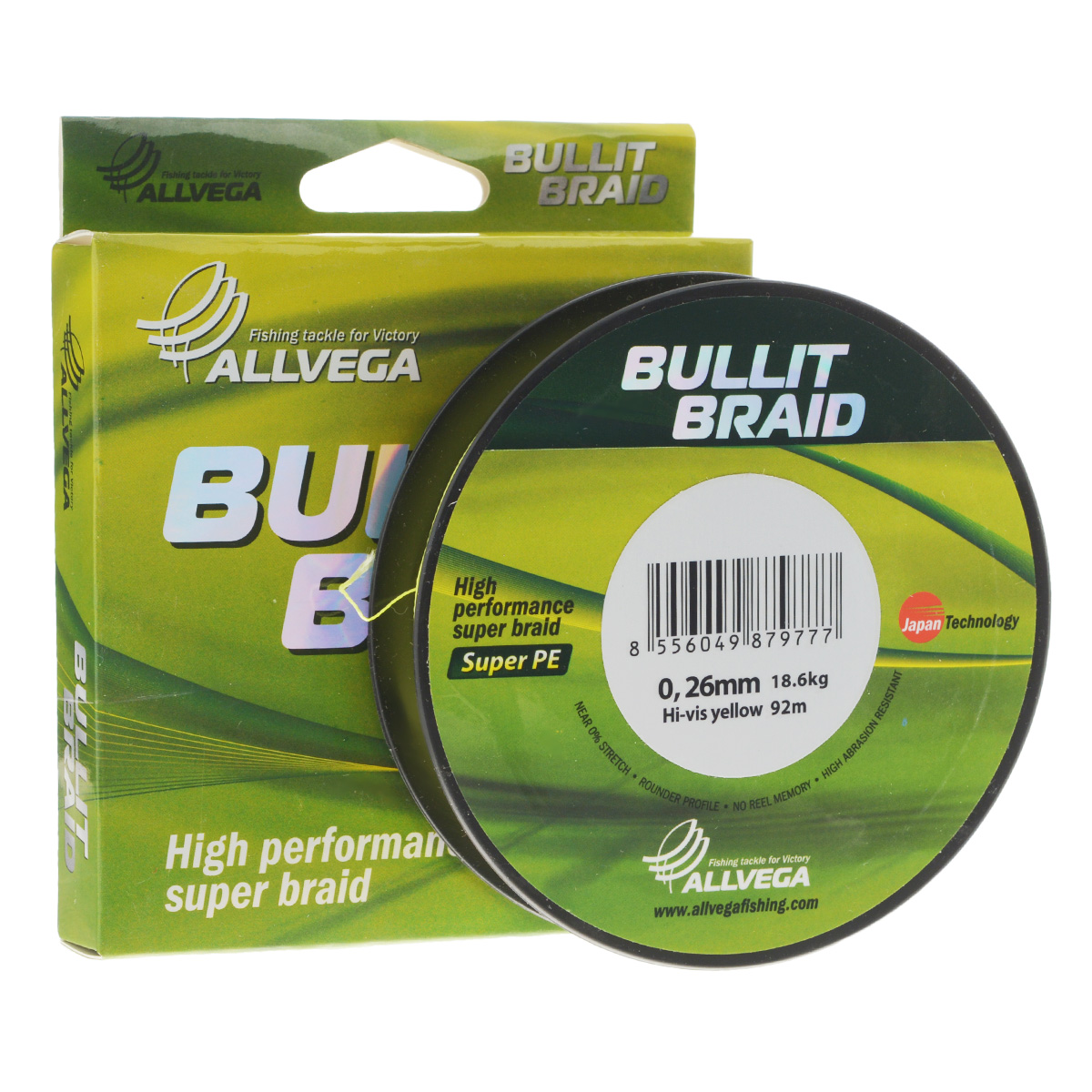 Леска плетеная Allvega Bullit Braid, цвет: ярко-желтый, 92 м, 0,26 мм, 18,6 кг