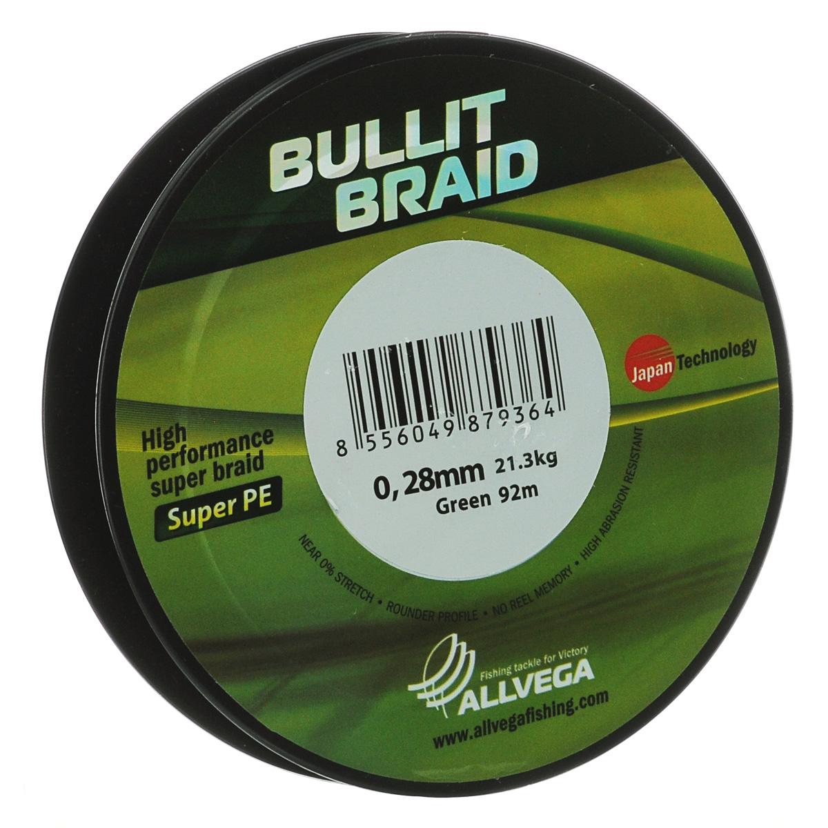 Леска плетеная Allvega Bullit Braid, цвет: темно-зеленый, 92 м, 0,28 мм, 21,3 кгPGPS7797CIS08GBNVЛеска Allvega Bullit Braid с гладкой поверхностью и одинаковым сечением по всей длине обладает высокой износостойкостью. Благодаря микроволокнам полиэтилена (Super PE) леска имеет очень плотное плетение и не впитывает воду. Леску Allvega Bullit Braid можно применять в любых типах водоемов. Особенности:- повышенная износостойкость;- высокая чувствительность - коэффициент растяжения близок к нулю;- отсутствует память;- идеально гладкая поверхность позволяет увеличить дальность забросов;- высокая прочность шнура на узлах.