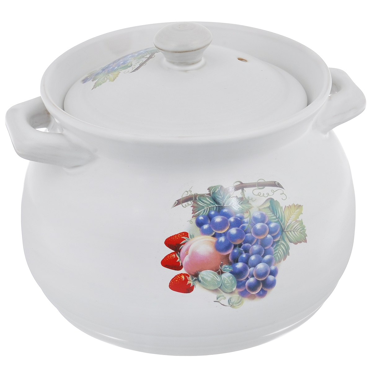 Кастрюля Bekker с крышкой, цвет: белый, 3,8 л. BK-732168/5/4Кастрюля Bekker изготовлена из жаропрочной керамики и декорирована изображением фруктов. При приготовлении в керамической посуде сохраняются питательные вещества и витамины. Керамика - прочный материал, который эффективно и быстро нагревается и удерживает тепло, медленно и равномерно его распределяя. Кроме того, керамика термостойка: она выдерживает температуру от - 30°С до 230°С. Кастрюля оснащена удобными ручками. Крышка изготовлена из керамики и оснащена отверстием для выхода пара. Она плотно прилегает к краю кастрюли, сохраняя аромат блюд. Можно использовать на газовой, электрической, керамической плитах и в духовом шкафу. Рекомендована ручная чистка.Высота стенки кастрюли: 16,2 см.Толщина стенки кастрюли: 5 мм.Толщина дна кастрюли: 4 мм.Ширина кастрюли с учетом ручек: 23 см.Диаметр дна кастрюли: 18,5 см.