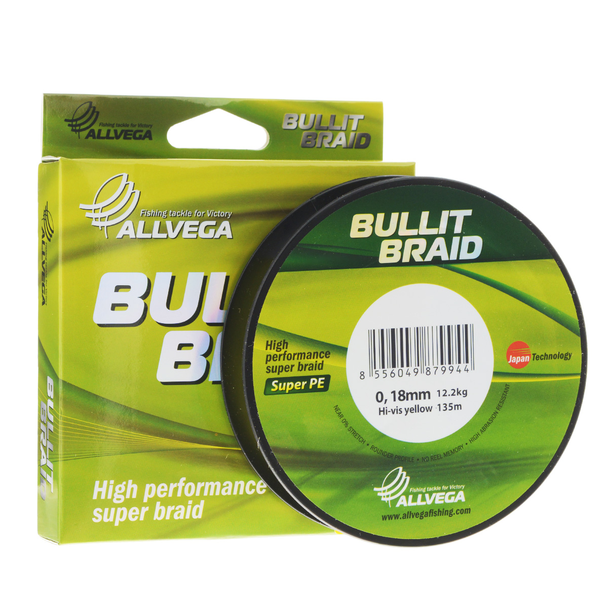 Леска плетеная Allvega Bullit Braid, цвет: ярко-желтый, 135 м, 0,18 мм, 12,2 кг