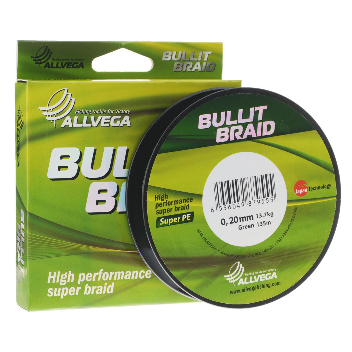 Леска плетеная Allvega Bullit Braid, цвет: темно-зеленый, 135 м, 0,20 мм, 13,7 кг36265Леска Allvega Bullit Braid с гладкой поверхностью и одинаковым сечением по всей длине обладает высокой износостойкостью. Благодаря микроволокнам полиэтилена (Super PE) леска имеет очень плотное плетение и не впитывает воду. Леску Allvega Bullit Braid можно применять в любых типах водоемов. Особенности:повышенная износостойкость;высокая чувствительность - коэффициент растяжения близок к нулю;отсутствует память; идеально гладкая поверхность позволяет увеличить дальность забросов; высокая прочность шнура на узлах.