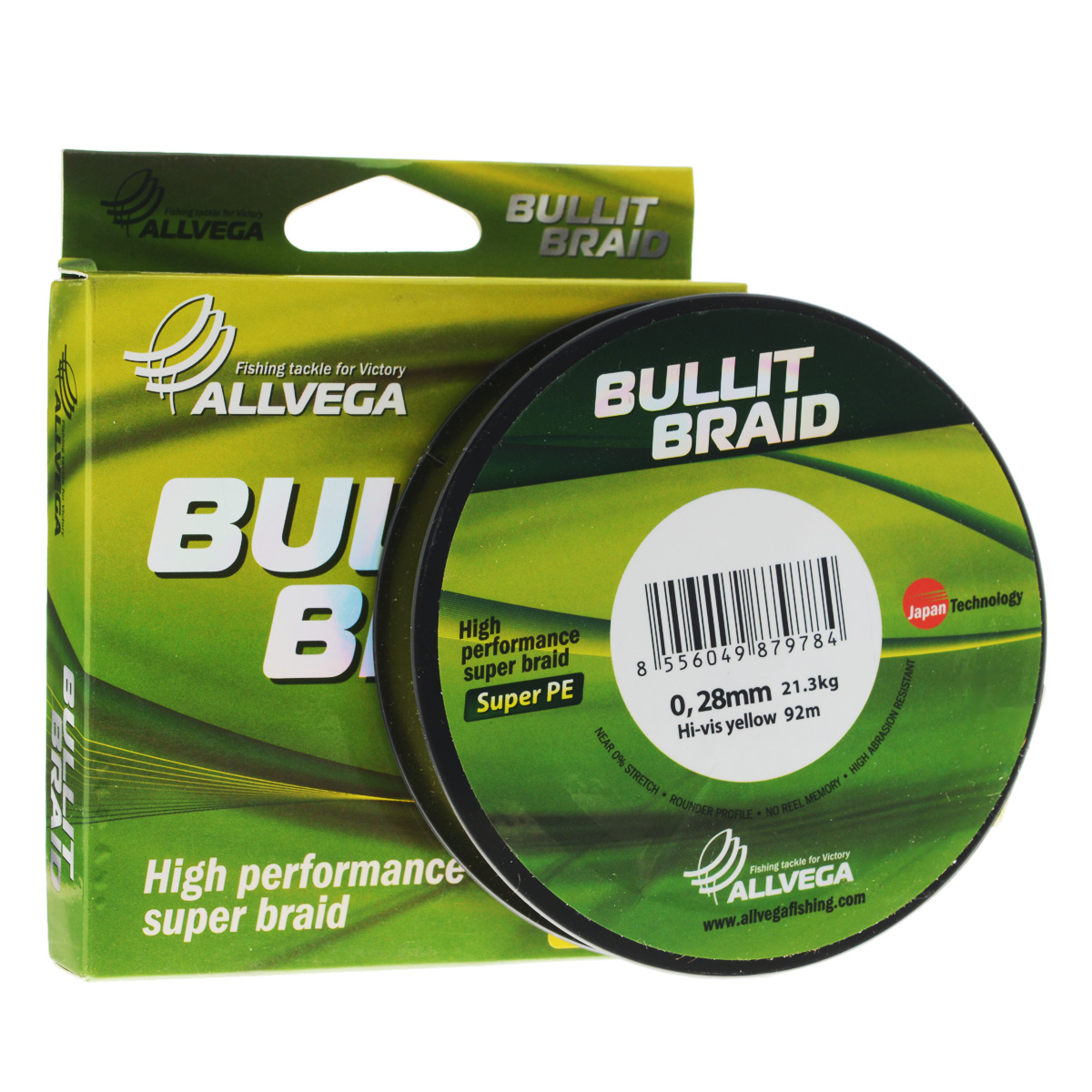 Леска плетеная Allvega Bullit Braid, цвет: ярко-желтый, 92 м, 0,28 мм, 21,3 кг