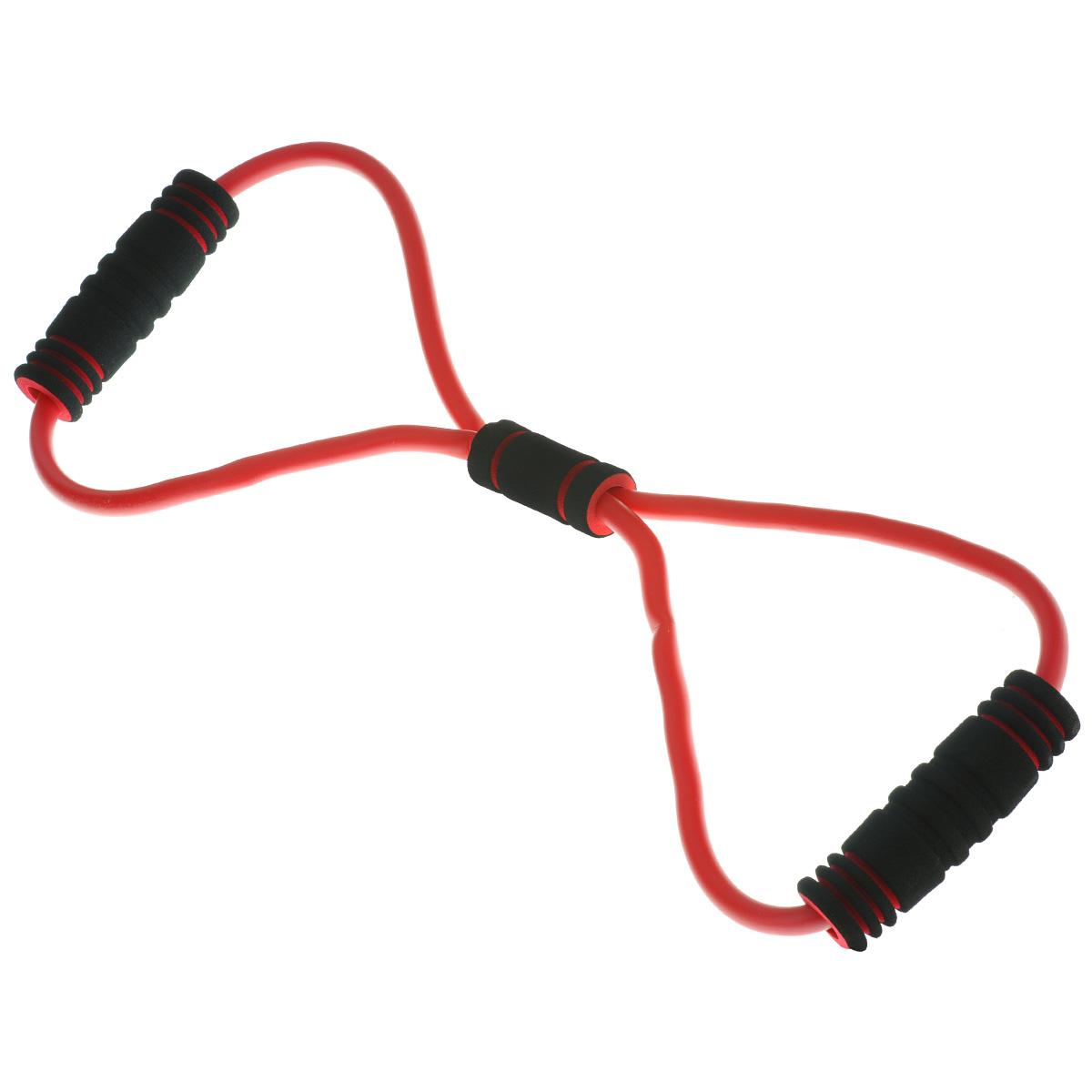 Эспандер-восьмерка грудной Lite Weights, одинарный, цвет: красный, черный0830LWГрудной одинарный эспандер-восьмерка Lite Weights изготовлен термопластикового эластомера. Ручки выполнены из вспененного полипропилена. Грудной эспандер используется для выполнения упражнений, направленных на укрепление плечевых и грудных мышц. Эспандеры - небольшие спортивные снаряды, с помощью которых можно развивать разные группы мышц. Их главное преимущество перед всем спортивным инвентарем - это компактность. Принцип занятий с эспандером заключается в применении силы против его эластичности или упругости. Растягивая такой эспандер двумя руками от груди, нагрузка распределяется на грудные и плечевые мышцы. При занятии с грудными эспандерами поддерживаются в тонусе все мышцы торса. С эспандером-восьмеркой можно заниматься как в спортзале, так и в домашних условиях. Он компактен и удобен в хранении. Яркий и современный дизайн станет приятным дополнением к вашим тренировкам. Толщина жгута: 1 см. Длина эспандера: 56 см. Степень нагрузки: средняя.
