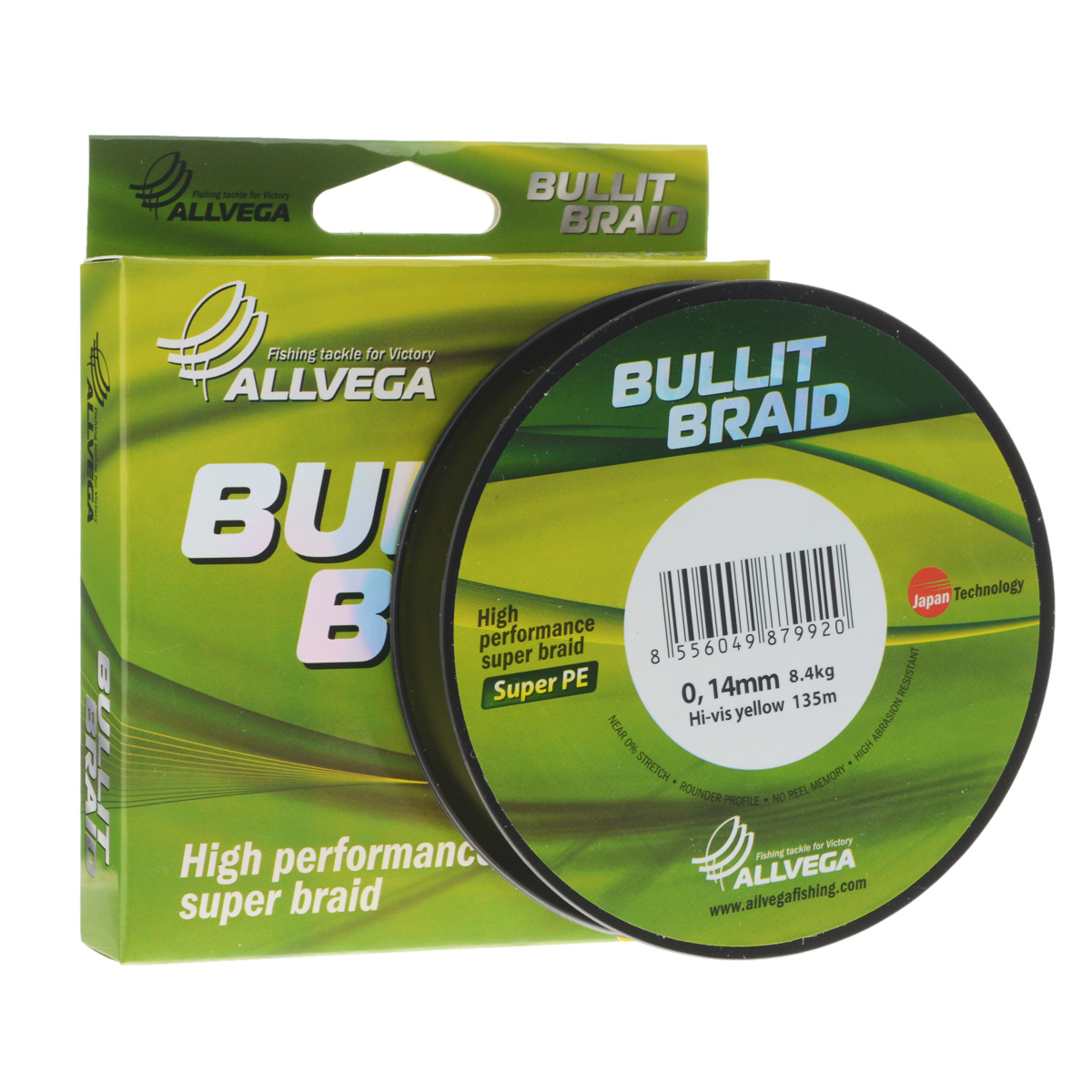Леска плетеная Allvega Bullit Braid, цвет: ярко-желтый, 135 м, 0,14 мм, 8,4 кг39960Леска Allvega Bullit Braid с гладкой поверхностью и одинаковым сечением по всей длине обладает высокой износостойкостью. Благодаря микроволокнам полиэтилена (Super PE) леска имеет очень плотное плетение и не впитывает воду. Леску Allvega Bullit Braid можно применять в любых типах водоемов. Особенности:повышенная износостойкость;высокая чувствительность - коэффициент растяжения близок к нулю;отсутствует память; идеально гладкая поверхность позволяет увеличить дальность забросов; высокая прочность шнура на узлах.