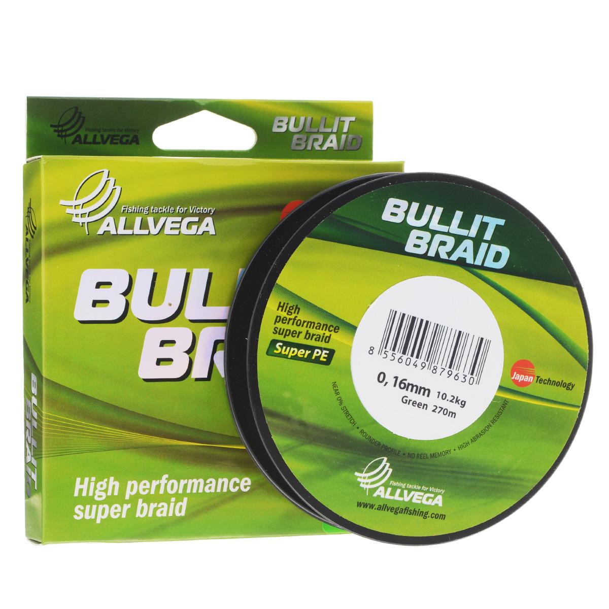 Леска плетеная Allvega Bullit Braid, цвет: темно-зеленый, 270 м, 0,16 мм, 10,2 кг36155Леска Allvega Bullit Braid с гладкой поверхностью и одинаковым сечением по всей длине обладает высокой износостойкостью. Благодаря микроволокнам полиэтилена (Super PE) леска имеет очень плотное плетение и не впитывает воду. Леску Allvega Bullit Braid можно применять в любых типах водоемов. Особенности:повышенная износостойкость;высокая чувствительность - коэффициент растяжения близок к нулю;отсутствует память; идеально гладкая поверхность позволяет увеличить дальность забросов; высокая прочность шнура на узлах.