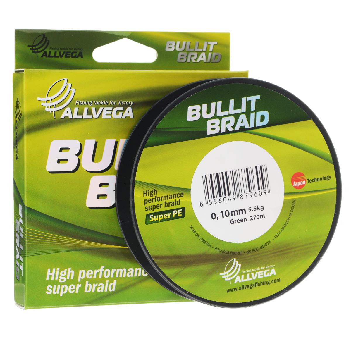 Леска плетеная Allvega Bullit Braid, цвет: темно-зеленый, 270 м, 0,10 мм, 5,5 кг39933Леска Allvega Bullit Braid с гладкой поверхностью и одинаковым сечением по всей длине обладает высокой износостойкостью. Благодаря микроволокнам полиэтилена (Super PE) леска имеет очень плотное плетение и не впитывает воду. Леску Allvega Bullit Braid можно применять в любых типах водоемов. Особенности:повышенная износостойкость;высокая чувствительность - коэффициент растяжения близок к нулю;отсутствует память; идеально гладкая поверхность позволяет увеличить дальность забросов; высокая прочность шнура на узлах.