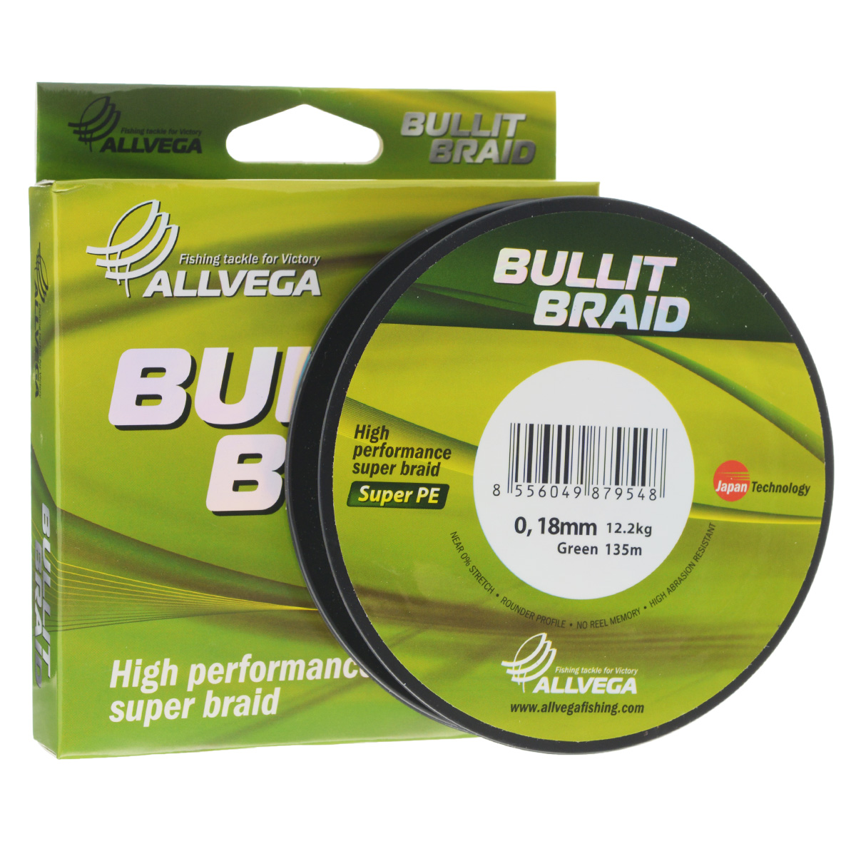 Леска плетеная Allvega Bullit Braid, цвет: темно-зеленый, 135 м, 0,18 мм, 12,2 кг36266Леска Allvega Bullit Braid с гладкой поверхностью и одинаковым сечением по всей длине обладает высокой износостойкостью. Благодаря микроволокнам полиэтилена (Super PE) леска имеет очень плотное плетение и не впитывает воду. Леску Allvega Bullit Braid можно применять в любых типах водоемов. Особенности:повышенная износостойкость;высокая чувствительность - коэффициент растяжения близок к нулю;отсутствует память; идеально гладкая поверхность позволяет увеличить дальность забросов; высокая прочность шнура на узлах.