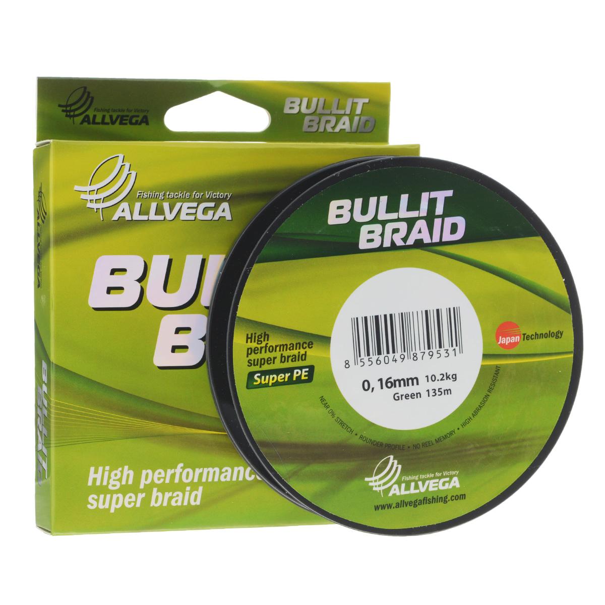 Леска плетеная Allvega Bullit Braid, цвет: темно-зеленый, 135 м, 0,16 мм, 10,2 кг010-01199-23Леска Allvega Bullit Braid с гладкой поверхностью и одинаковым сечением по всей длине обладает высокой износостойкостью. Благодаря микроволокнам полиэтилена (Super PE) леска имеет очень плотное плетение и не впитывает воду. Леску Allvega Bullit Braid можно применять в любых типах водоемов. Особенности:повышенная износостойкость;высокая чувствительность - коэффициент растяжения близок к нулю;отсутствует память; идеально гладкая поверхность позволяет увеличить дальность забросов; высокая прочность шнура на узлах.