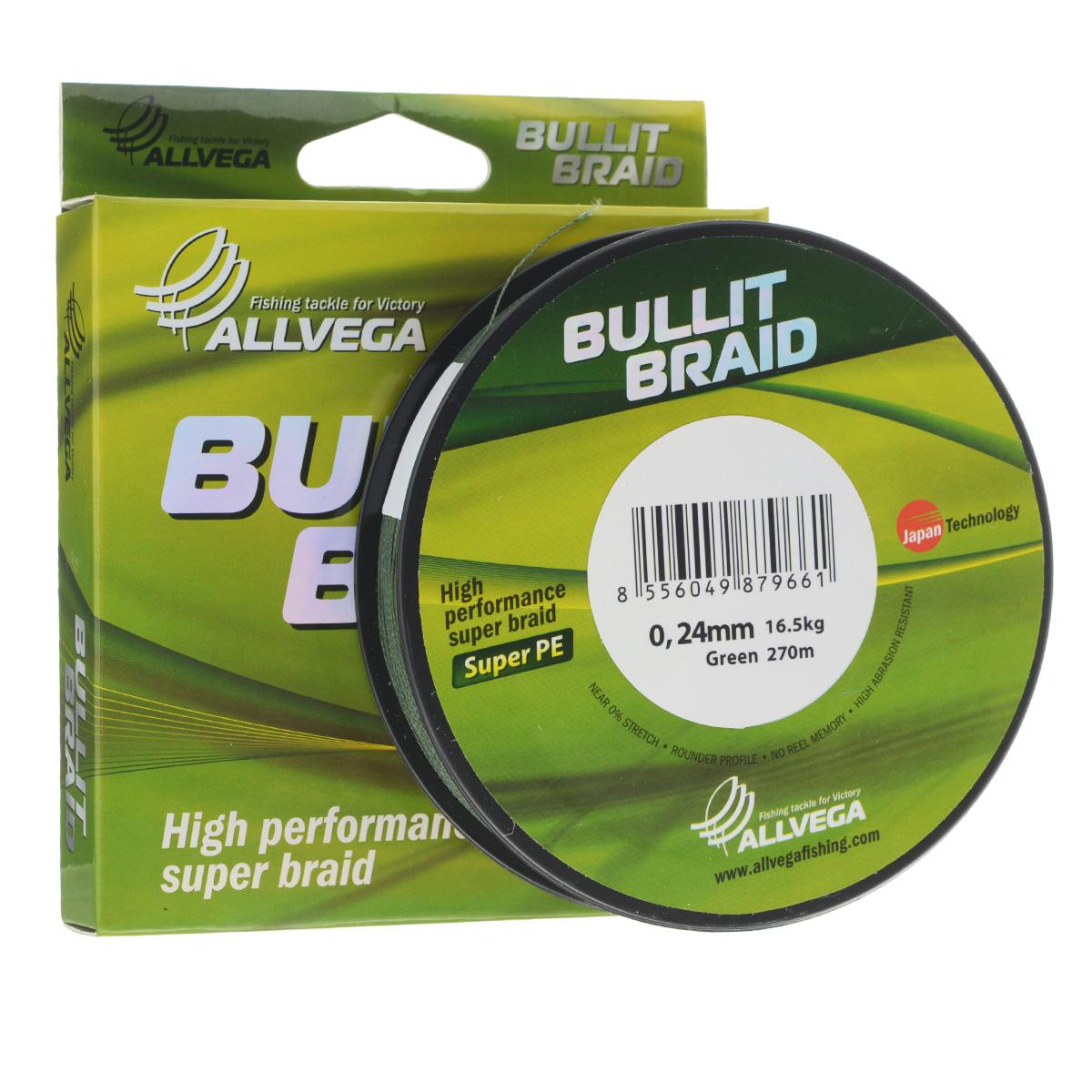 Леска плетеная Allvega Bullit Braid, цвет: темно-зеленый, 270 м, 0,24 мм, 16,5 кг4271825Леска Allvega Bullit Braid с гладкой поверхностью и одинаковым сечением по всей длине обладает высокой износостойкостью. Благодаря микроволокнам полиэтилена (Super PE) леска имеет очень плотное плетение и не впитывает воду. Леску Allvega Bullit Braid можно применять в любых типах водоемов. Особенности:повышенная износостойкость;высокая чувствительность - коэффициент растяжения близок к нулю;отсутствует память; идеально гладкая поверхность позволяет увеличить дальность забросов; высокая прочность шнура на узлах.