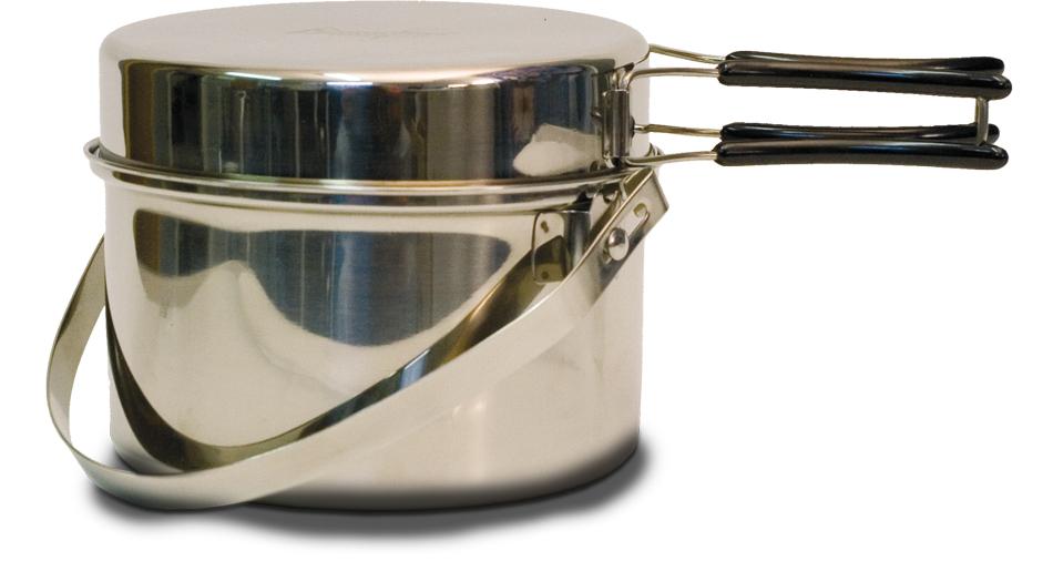 Набор посуды Canadian Camper CC-PF290, 2 предмета32100037В набор посуды Canadian Camper CC-PF095 входит котелок и сковорода. Предметы набора выполнены из высококачественной нержавеющей стали. Сковорода оснащена складными ручками, покрытыми теплоизоляционным материалом. Котелок также оснащен складной ручкой из нержавеющей стали.Сковороду можно использовать как крышку для котелка.В комплекте сетчатая сумка для переноски и хранения.Диаметр сковороды: 20,5 см.Высота сковороды: 4,2 см.Диаметр котелка: 21 см.Объем котелка: 2,9 л.Высота котелка: 9,5 см.