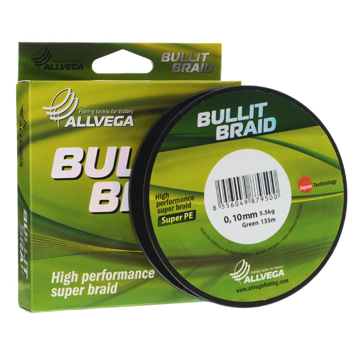 Леска плетеная Allvega Bullit Braid, цвет: темно-зеленый, 135 м, 0,10 мм, 5,5 кг39958Леска Allvega Bullit Braid с гладкой поверхностью и одинаковым сечением по всей длине обладает высокой износостойкостью. Благодаря микроволокнам полиэтилена (Super PE) леска имеет очень плотное плетение и не впитывает воду. Леску Allvega Bullit Braid можно применять в любых типах водоемов. Особенности:повышенная износостойкость;высокая чувствительность - коэффициент растяжения близок к нулю;отсутствует память; идеально гладкая поверхность позволяет увеличить дальность забросов; высокая прочность шнура на узлах.