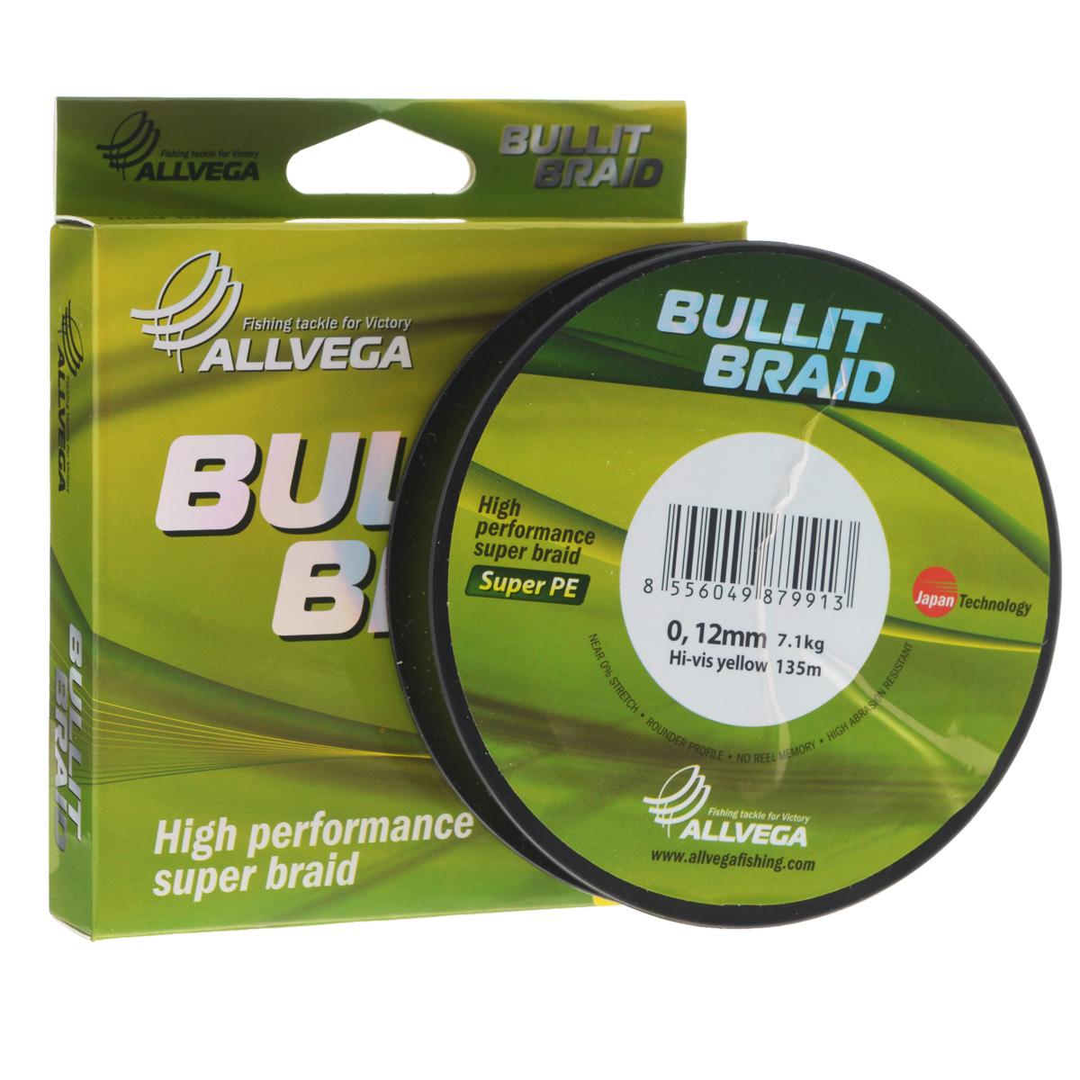 Леска плетеная Allvega Bullit Braid, цвет: ярко-желтый, 135 м, 0,12 мм, 7,1 кг51530Леска Allvega Bullit Braid с гладкой поверхностью и одинаковым сечением по всей длине обладает высокой износостойкостью. Благодаря микроволокнам полиэтилена (Super PE) леска имеет очень плотное плетение и не впитывает воду. Леску Allvega Bullit Braid можно применять в любых типах водоемов. Особенности:повышенная износостойкость;высокая чувствительность - коэффициент растяжения близок к нулю;отсутствует память; идеально гладкая поверхность позволяет увеличить дальность забросов; высокая прочность шнура на узлах.