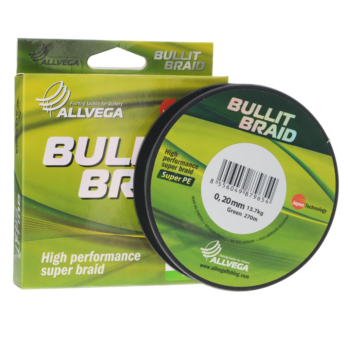 Леска плетеная Allvega Bullit Braid, цвет: темно-зеленый, 270 м, 0,20 мм, 13,7 кг13-12-17-220Леска Allvega Bullit Braid с гладкой поверхностью и одинаковым сечением по всей длине обладает высокой износостойкостью. Благодаря микроволокнам полиэтилена (Super PE) леска имеет очень плотное плетение и не впитывает воду. Леску Allvega Bullit Braid можно применять в любых типах водоемов. Особенности:повышенная износостойкость;высокая чувствительность - коэффициент растяжения близок к нулю;отсутствует память; идеально гладкая поверхность позволяет увеличить дальность забросов; высокая прочность шнура на узлах.
