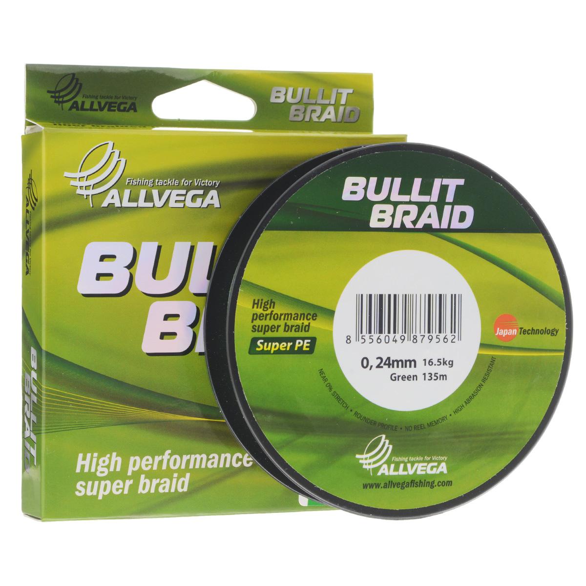 Леска плетеная Allvega Bullit Braid, цвет: темно-зеленый, 135 м, 0,24 мм, 16,5 кг51524Леска Allvega Bullit Braid с гладкой поверхностью и одинаковым сечением по всей длине обладает высокой износостойкостью. Благодаря микроволокнам полиэтилена (Super PE) леска имеет очень плотное плетение и не впитывает воду. Леску Allvega Bullit Braid можно применять в любых типах водоемов. Особенности:повышенная износостойкость;высокая чувствительность - коэффициент растяжения близок к нулю;отсутствует память; идеально гладкая поверхность позволяет увеличить дальность забросов; высокая прочность шнура на узлах.