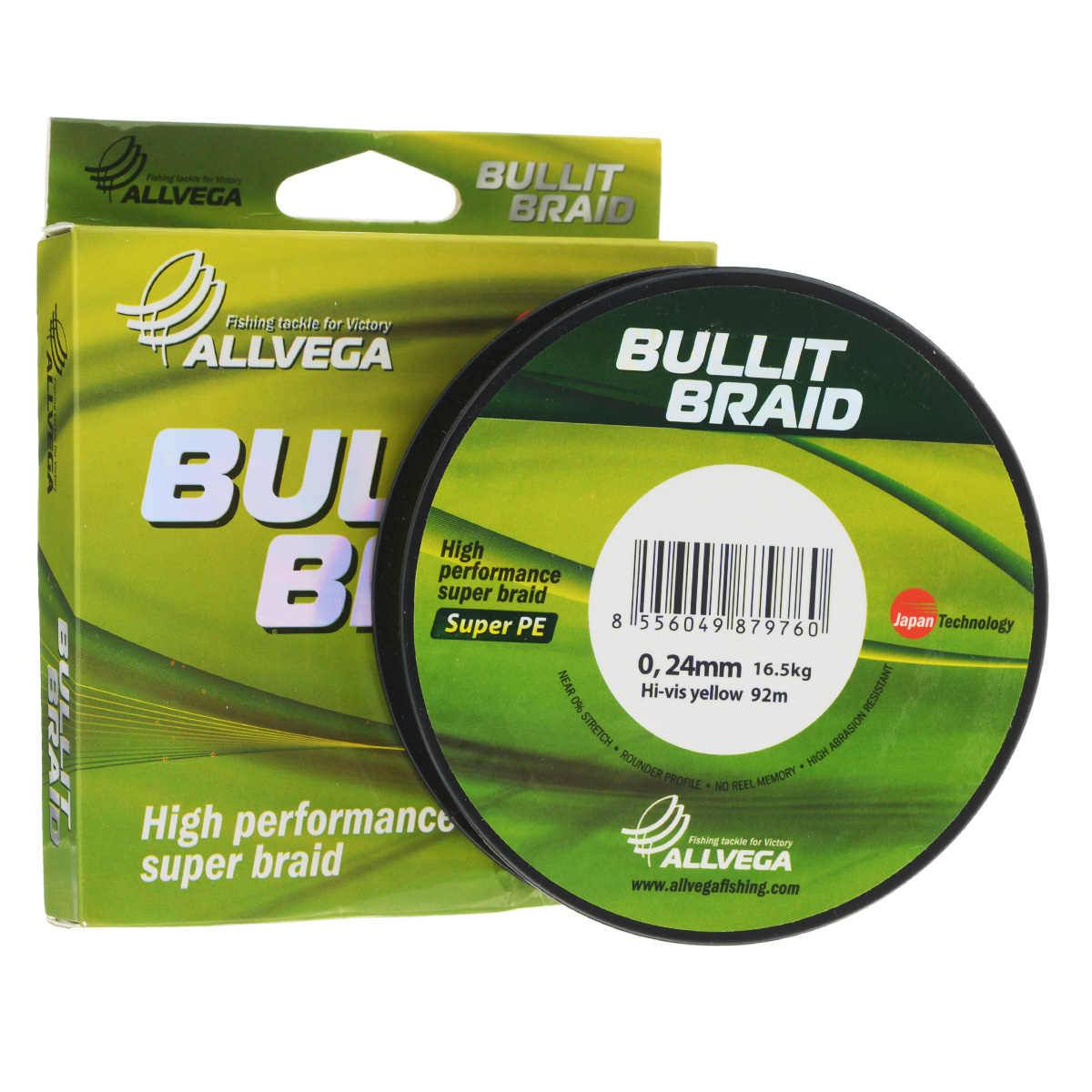 Леска плетеная Allvega Bullit Braid, цвет: ярко-желтый, 92 м, 0,24 мм, 16,5 кг