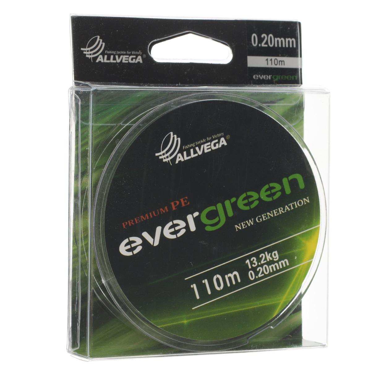 Леска плетеная Allvega Evergreen, цвет: темно-зеленый, 110 м, 0,20 мм, 13,2 кг010-01199-23Плетеная леска Allvega Evergreen очень прочная и способна выдержать сильные нагрузки. Благодаря высококачественному сырью леска Allvega Allvega Evergreen максимально устойчива к любым погодным условиям и особенностям каждого водоема. При традиционных методах производства плетеные шнуры со временем теряют свой цвет (покрытие), а вместе с ним и часть своих полезных физических свойств. Революционно новый подход в технологии изготовления лесок Allvega Evergreen позволяет забыть о проблеме потери цвета в процессе использования шнура. Он всегда будет зеленым - он просто не может быть другим!