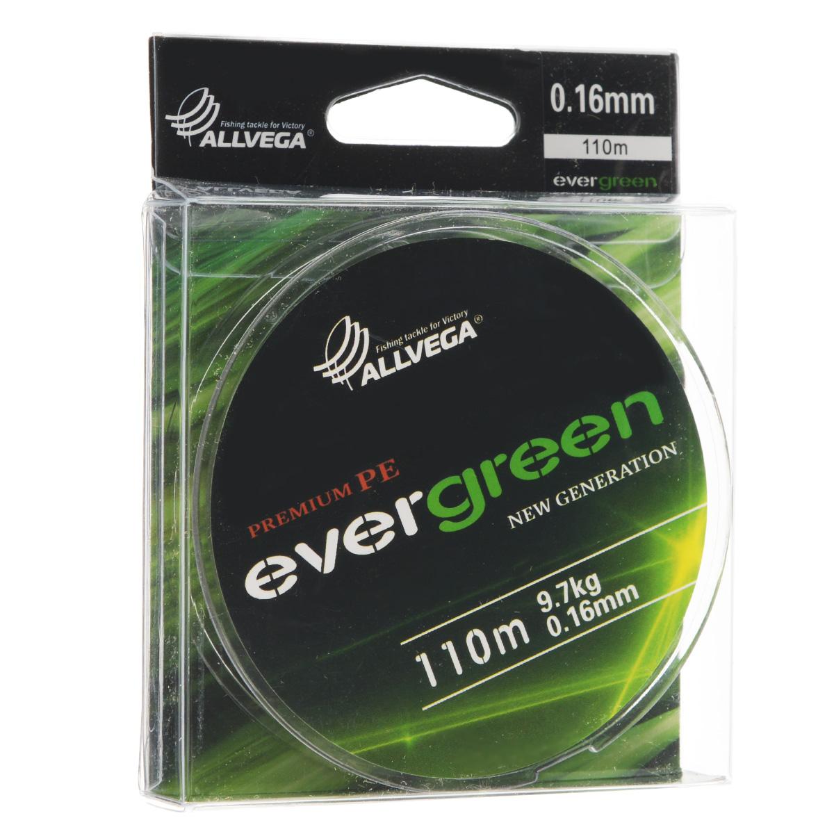 Леска плетеная Allvega Evergreen, цвет: темно-зеленый, 110 м, 0,16 мм, 9,7 кг31758Плетеная леска Allvega Evergreen очень прочная и способна выдержать сильные нагрузки. Благодаря высококачественному сырью леска Allvega Allvega Evergreen максимально устойчива к любым погодным условиям и особенностям каждого водоема. При традиционных методах производства плетеные шнуры со временем теряют свой цвет (покрытие), а вместе с ним и часть своих полезных физических свойств. Революционно новый подход в технологии изготовления лесок Allvega Evergreen позволяет забыть о проблеме потери цвета в процессе использования шнура. Он всегда будет зеленым - он просто не может быть другим!