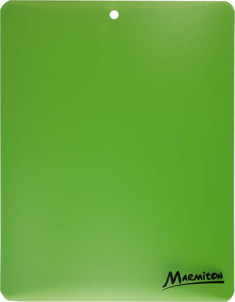 Доска разделочная Marmiton, гибкая, цвет: зеленый, 28 х 22 см17025Гибкая разделочная доска Marmiton прекрасно подходит для разделки всех видов пищевых продуктов. Изготовлена из гибкого одноцветного полипропилена (пластика) для удобства переноски и высыпания. Изделие оснащено отверстием для подвешивания на крючок.Можно мыть в посудомоечной машине.