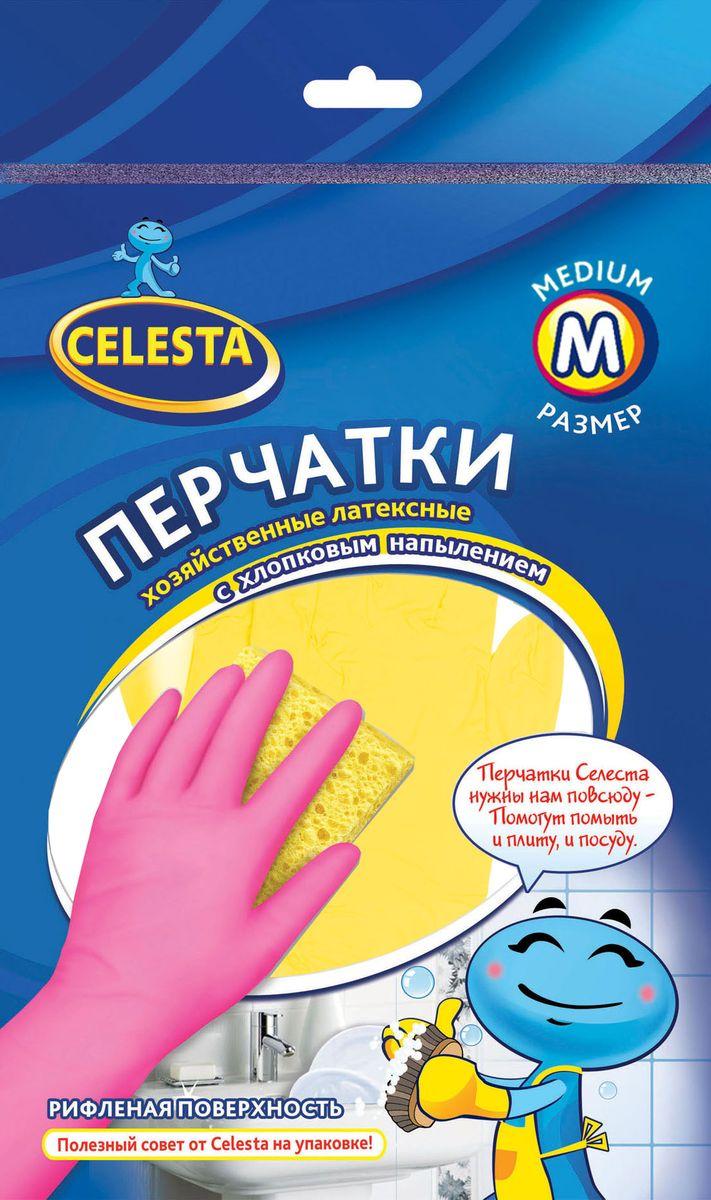 Перчатки хозяйственные Celesta, с хлопковым напылением, цвет: желтый. Размер МVCA-00Хозяйственные перчатки Celesta изготовлены из высококачественного латекса с рифленой поверхностью, которая позволяет удерживать мокрые предметы. Внутреннее хлопковое напыление обеспечивает комфорт и защищает кожу рук от раздражений. Перчатки подходят для различных видов домашних работ. Перчатки прочные, эластичны, хорошо облегают руку.