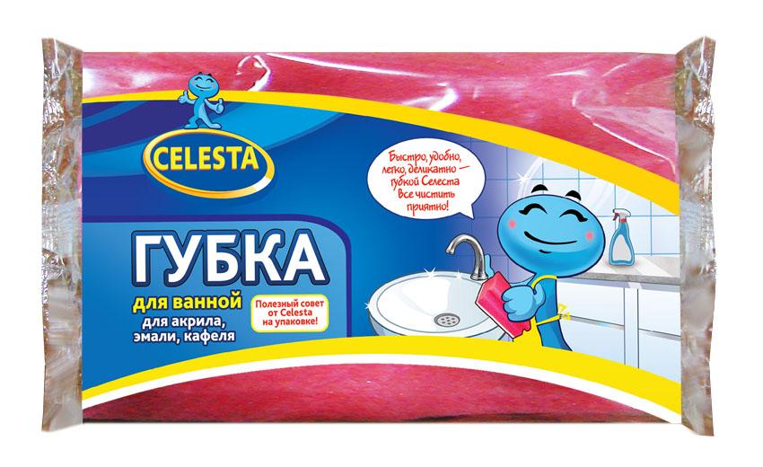 Губка для мытья ванной Celesta, цвет: розовый61130Губка для ванной Celesta, изготовленная из поролона и фибры, бережно и чисто поможет помыть ванну из акрила, эмали, кафеля. Жесткий слой легко справляется с сильными загрязнениями.