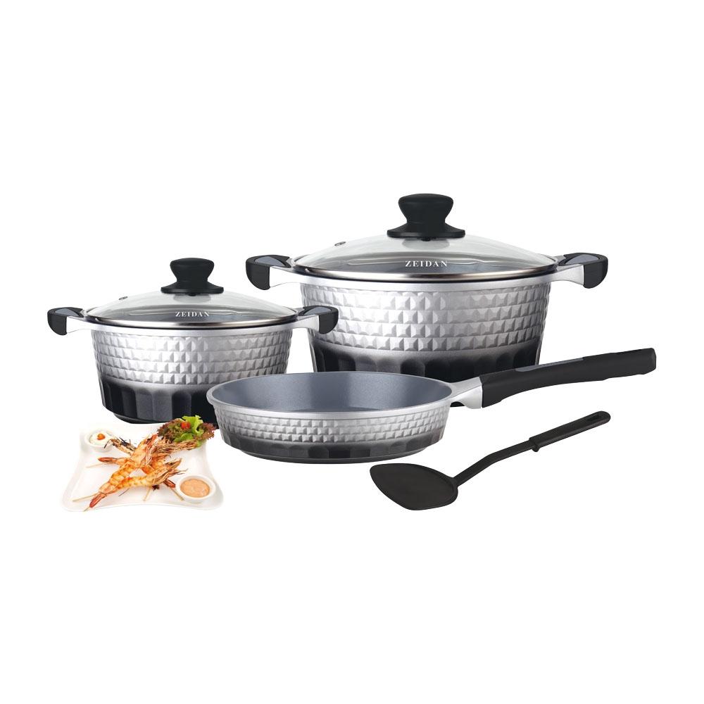 ZEIDAN Z-50604 Набор посуды 6 предметовVS-2238-redНабор посуды 6 предм. с внутренним керамическим покрытием (2 кастрюли с крышками: 3,0 л (O20см, h=9,5 см), 5,2 л (O24см, h=11,5 см), сковорода (O24см, h=5,5 см), лопатка из нейлона, литой алюминий, прорезиненные ручки черного цвета, внешнее покрытие - силикон (двухцветное: черный, серебристый)Материал: литой алюминий, жаропрочное стекло, бакелит.; цвет: серый