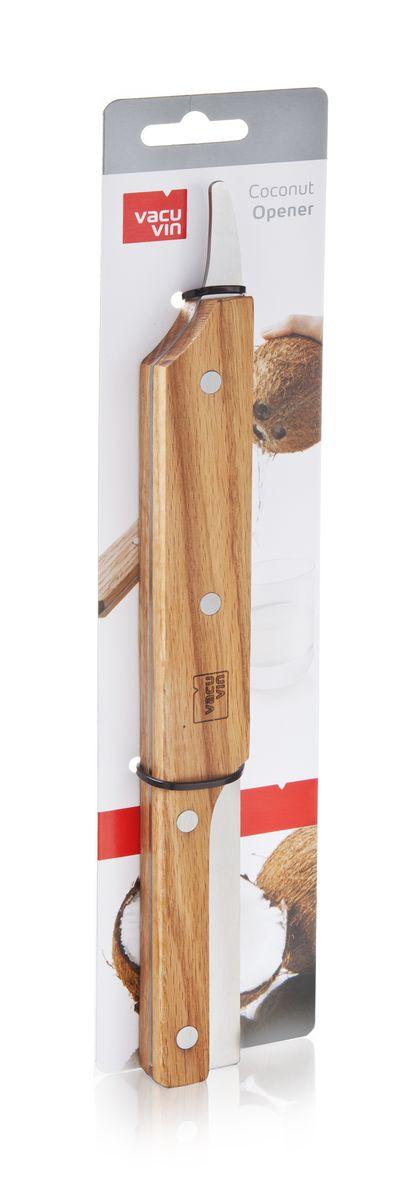 Устройство для открывания кокосов VacuVin Coconut Opener, длина 29 см115010Устройство VacuVin Coconut Opener изготовлено из дерева и металла и предназначено для открывания кокоса. Изделие очень легко использовать. Сначала нужно сделать прокол острием ножа в месте с тонкой кожурой на торце кокоса и слить в стакан кокосовое молоко. Затем просто несколько раз ударить этим ножом кокосовый орех, поворачивая его. Это позволит разделить кокос на две равные половины и добраться до его мякоти. Внесите немого экзотики в свой домашний быт с помощью этого отличного приспособления! Не рекомендуется мыть в посудомоечной машине. Длина устройства: 29 см.