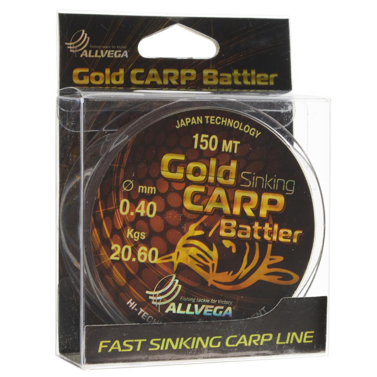 Леска Allvega Gold Carp Battler, цвет: коричневый, 150 м, 0,40 мм, 20,6 кг4271825Карповая леска Allvega Gold Carp Battler была разработана для ловли действительно крупной рыбы. Устойчива к большим нагрузкам в условиях густой растительности и коряжнике. Специальный цвет имеет неоднородную структуру, что позволяет быть не заметной на дне. Хорошо тонет, что является важным критерием для выбора карповой лески.